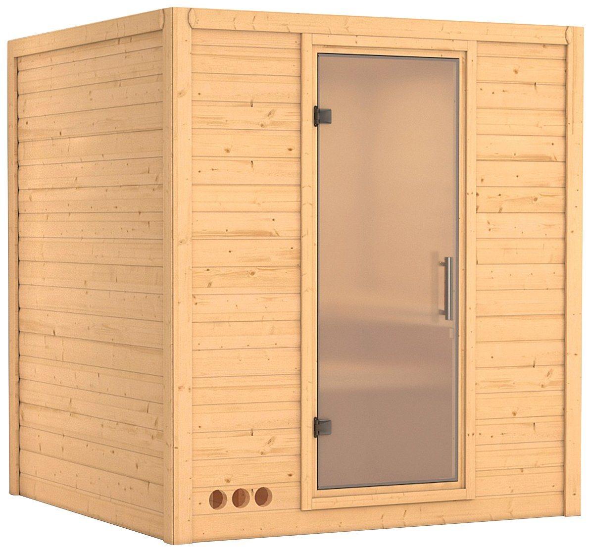KONIFERA Sauna »Mojave«, 193/184/209 cm, 9-kW-Ofen, int. Steuerung, Glastür satiniert