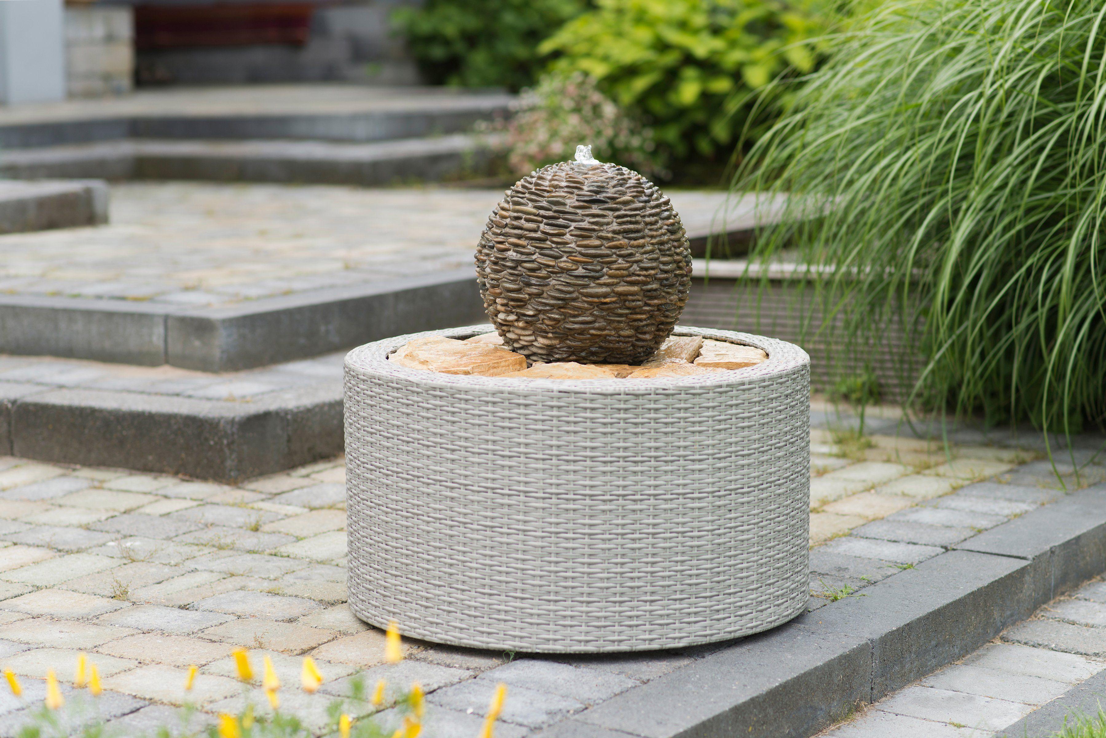 UBBINK Brunnenumrandung »DecoWall Wicker 7«, Ø/H 72,5/38,5 cm, grau