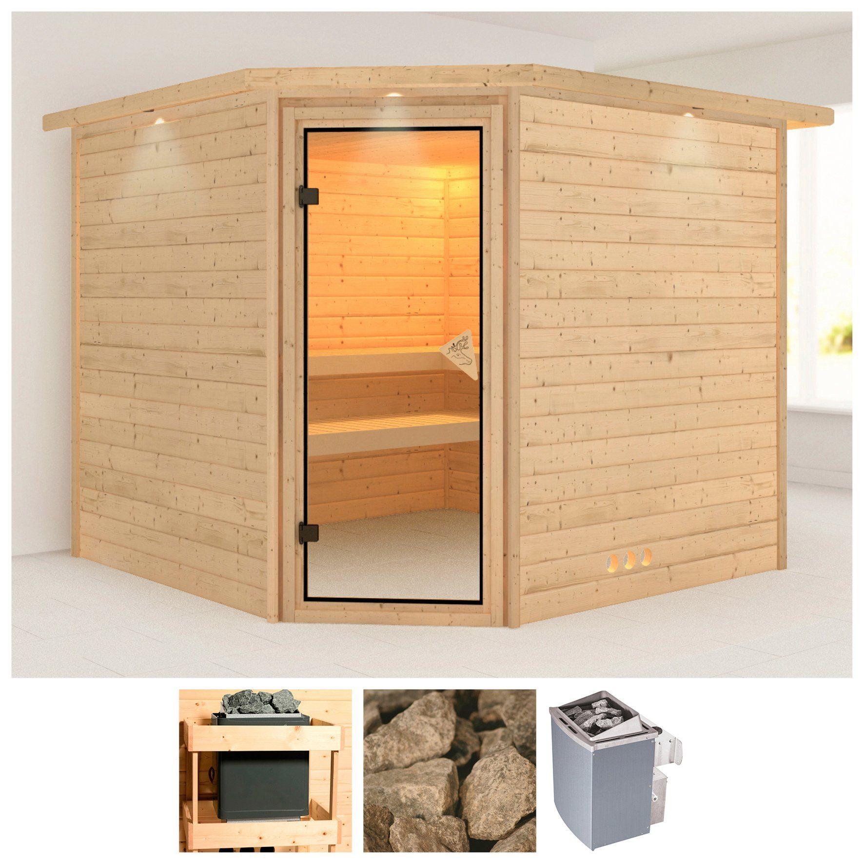 KARIBU Sauna »Lena«, 231/231/200 cm, 38 mm, 9-kW-Ofen mit int. Steuerung