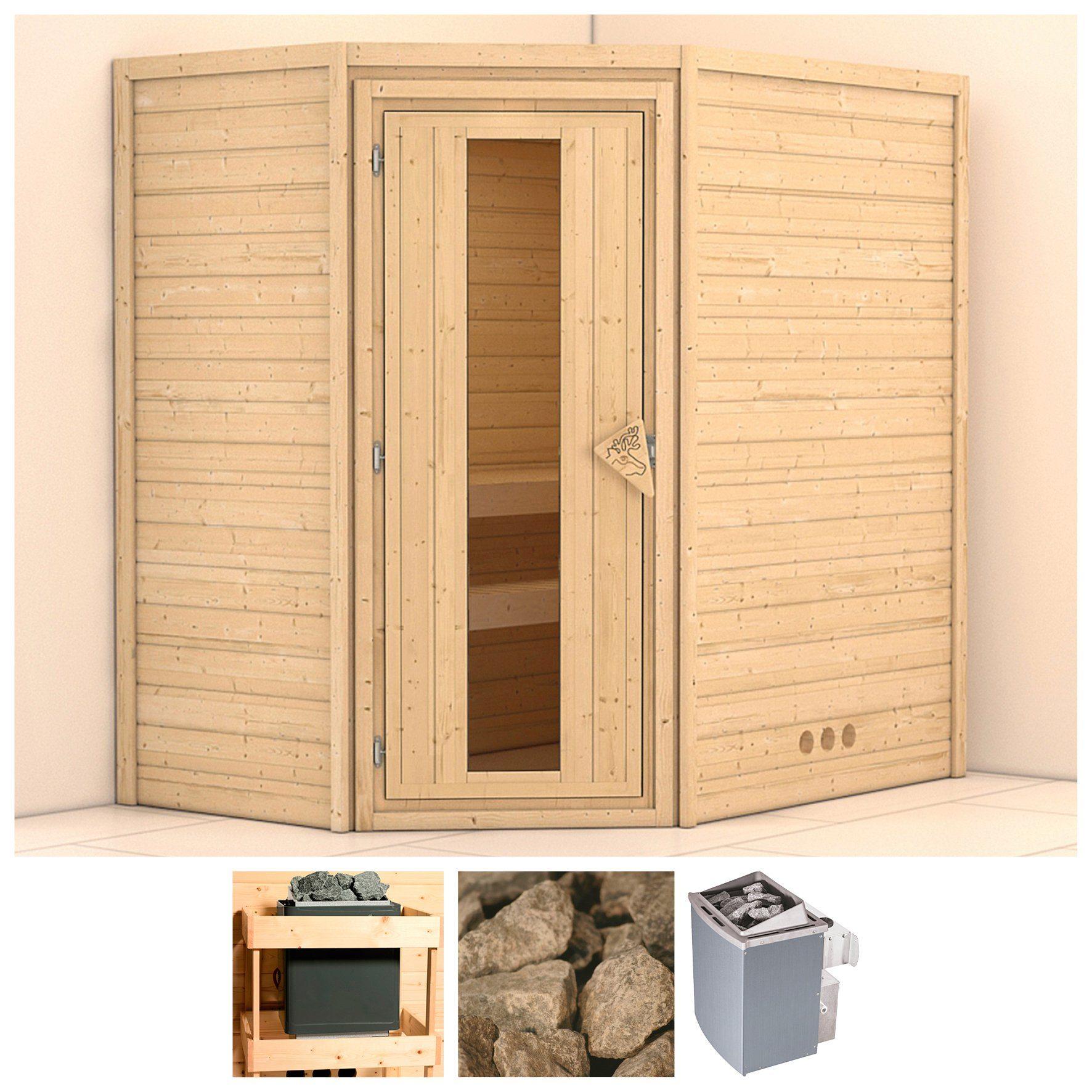 KONIFERA Sauna »Svea«, 196/146/200 cm, 9-kW-Ofen mit int. Steuerung, Holztür