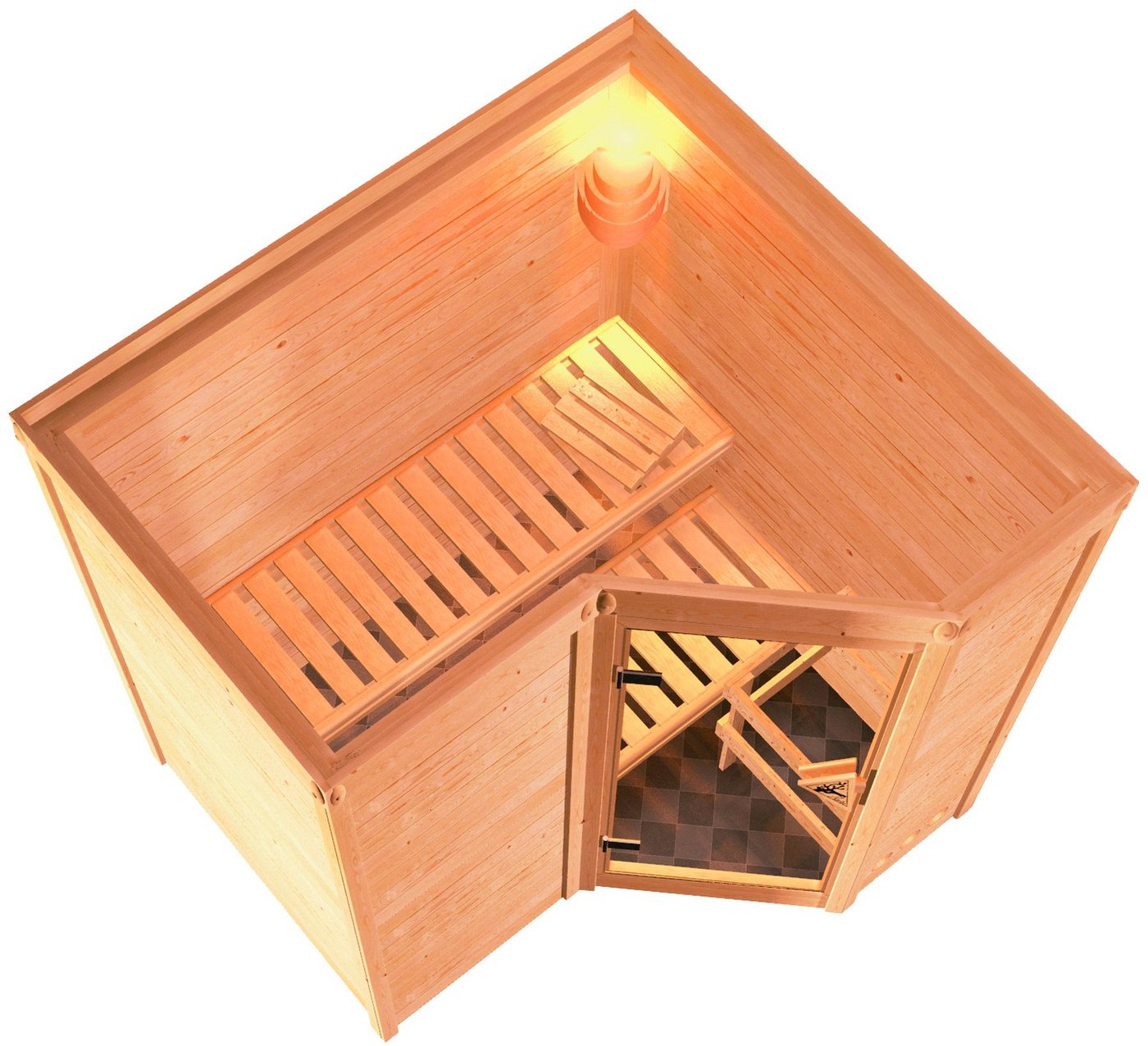 KARIBU Sauna »Sahib 1«, 193/184/206 cm, 9-kW-Ofen mit int. Steuerung, Holztür