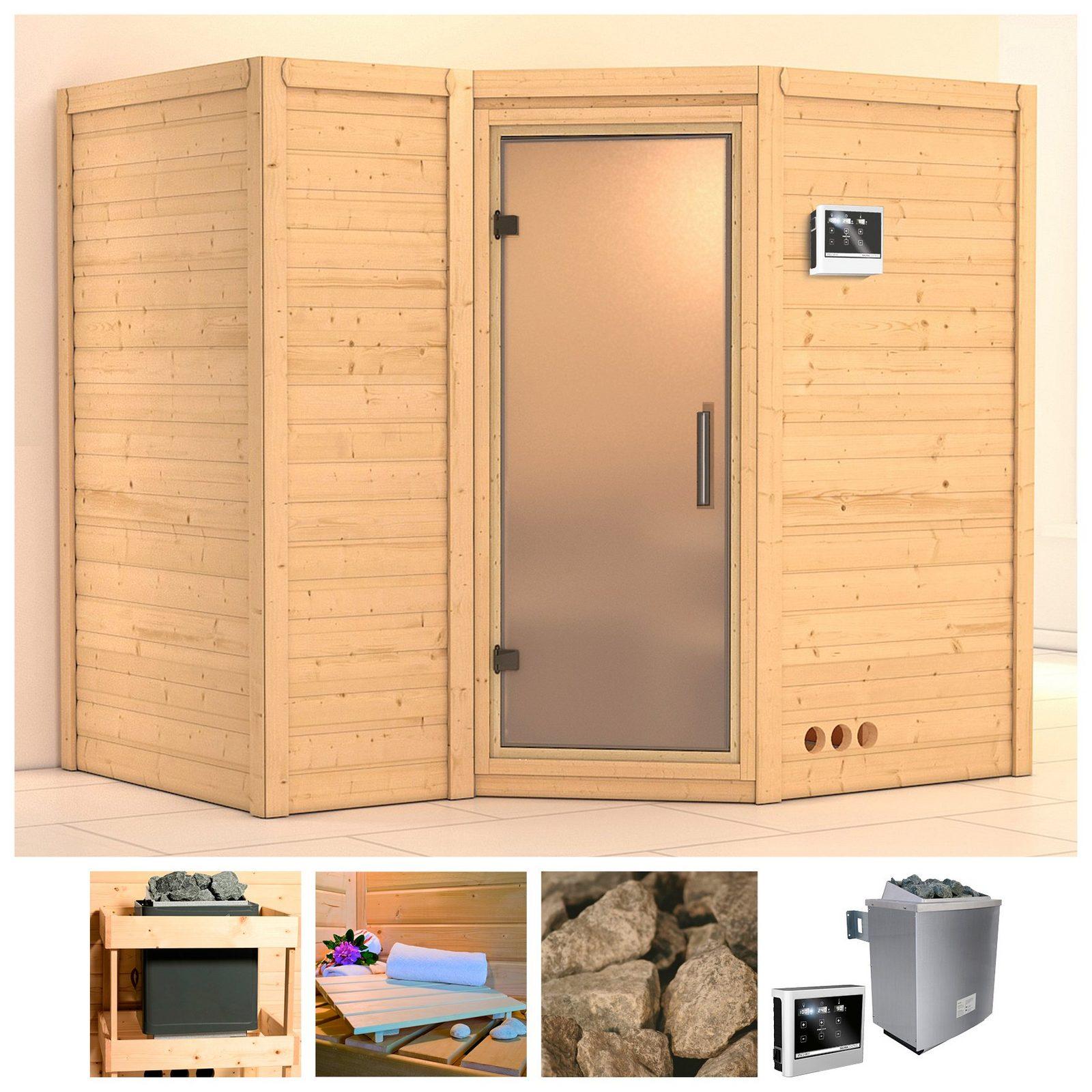 KARIBU Sauna »Sahib 2«, 236/184/206 cm, 9-kW-Ofen, ext. Steuerung, Glastür satiniert