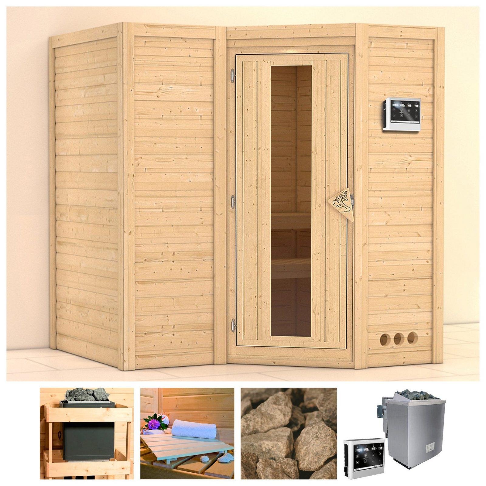 KARIBU Sauna »Sahib 1«, 193/184/206 cm, 9-kW-Bio-Ofen mit ext. Strg., Holztür