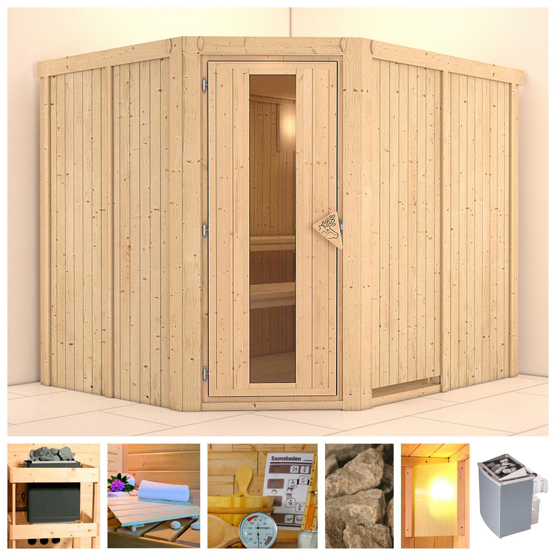 KONIFERA Sauna »Malin«, 231/196/198 cm, 9-kW-Ofen mit int. Steuerung, Holztür