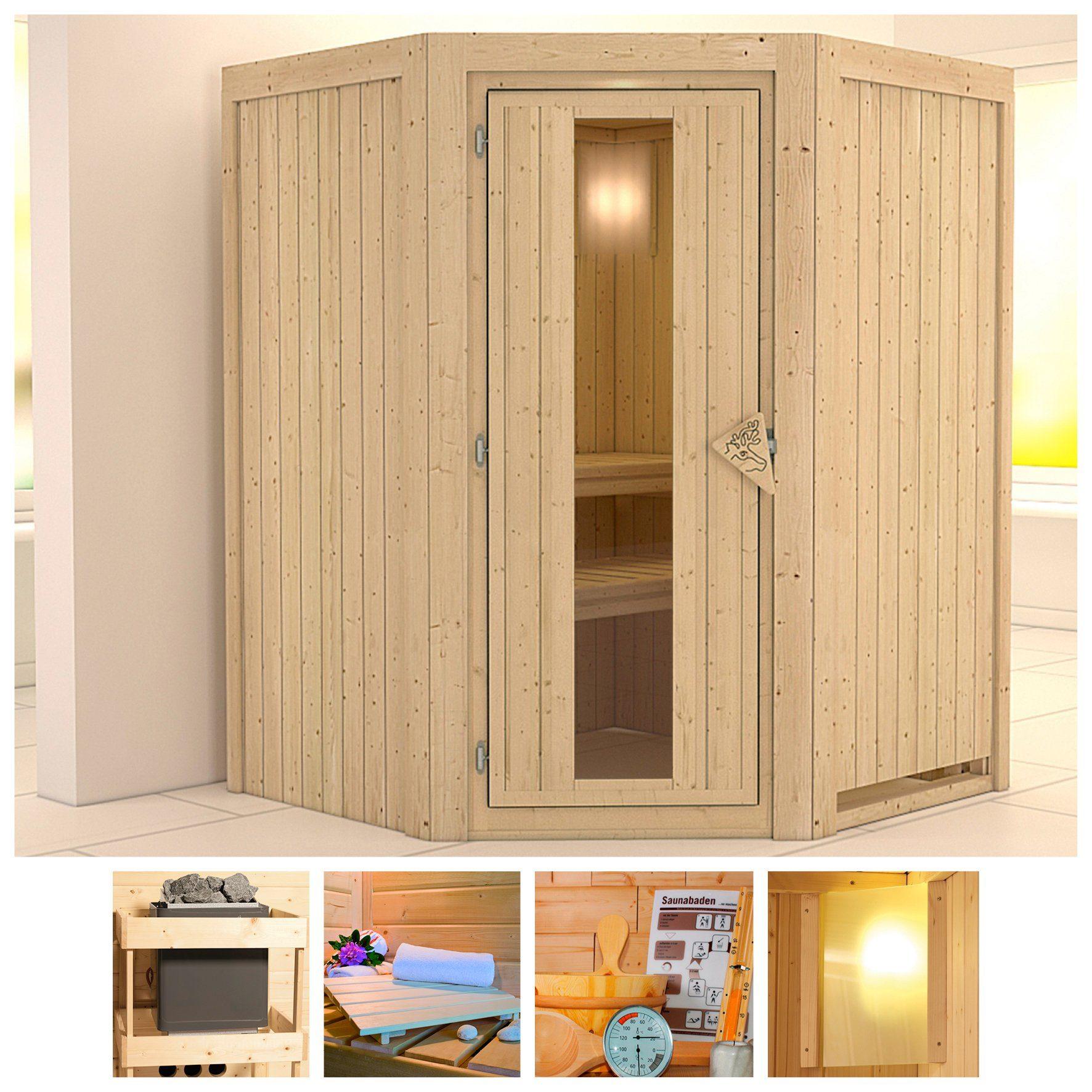 KONIFERA Sauna »Larin«, 151/151/198 cm, ohne Ofen, Holztür