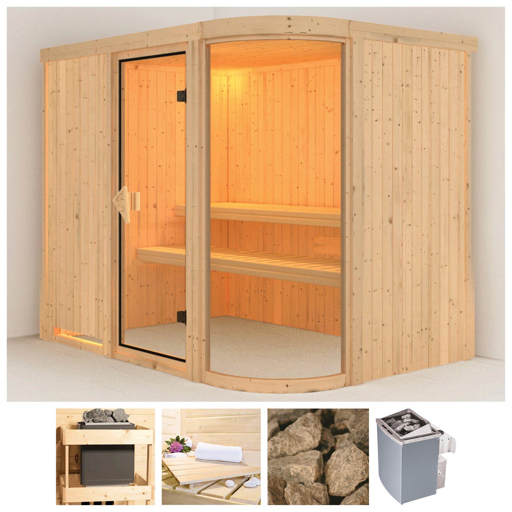 KARIBU Sauna »Parima 4«, 231x170x198 cm, 9 kW Ofen mit int. Steuerung