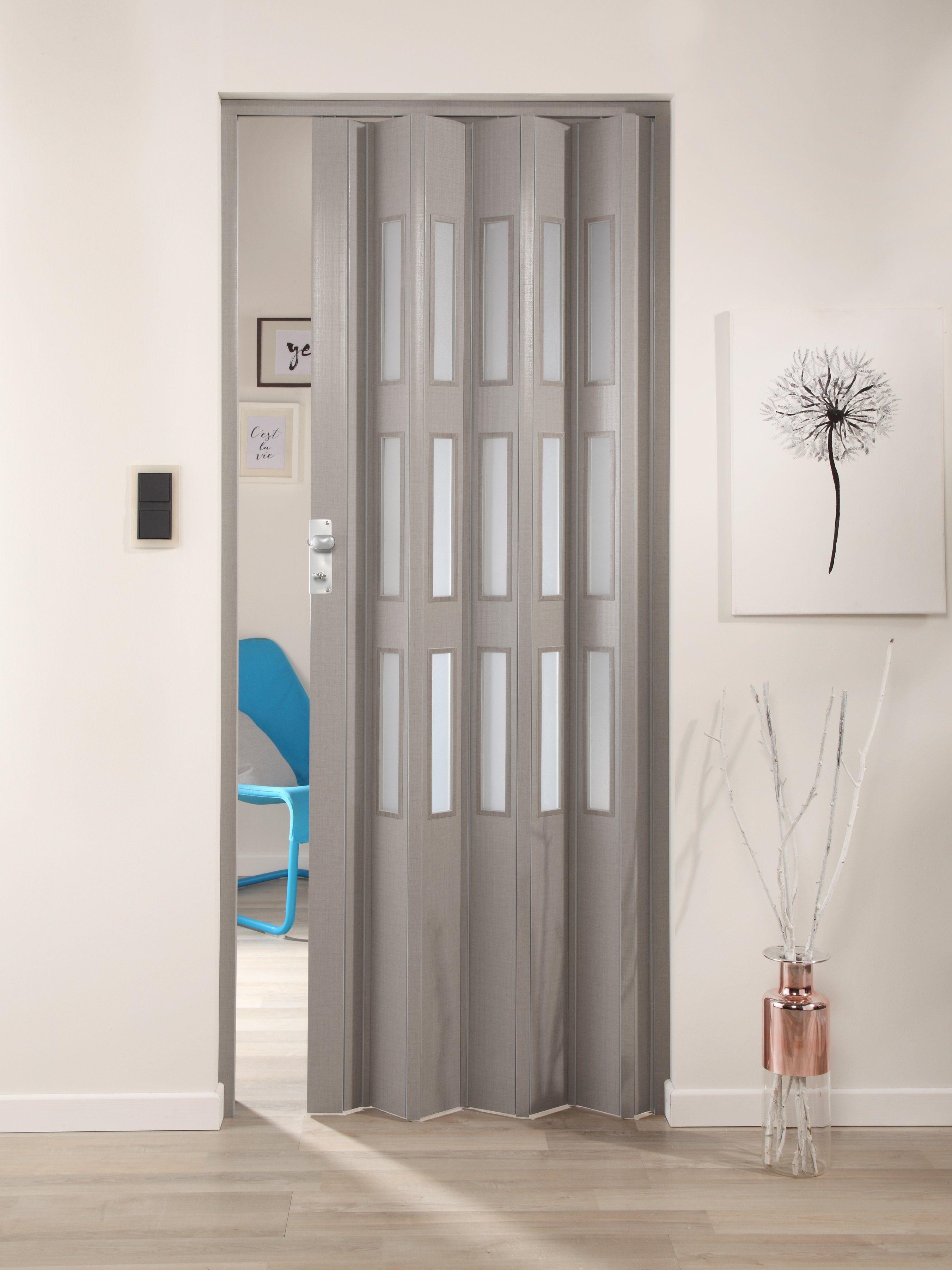 Kunststoff-Falttür »Elvira«, Höhe nach Maß, grau gewebt mit satinierten Fenstern