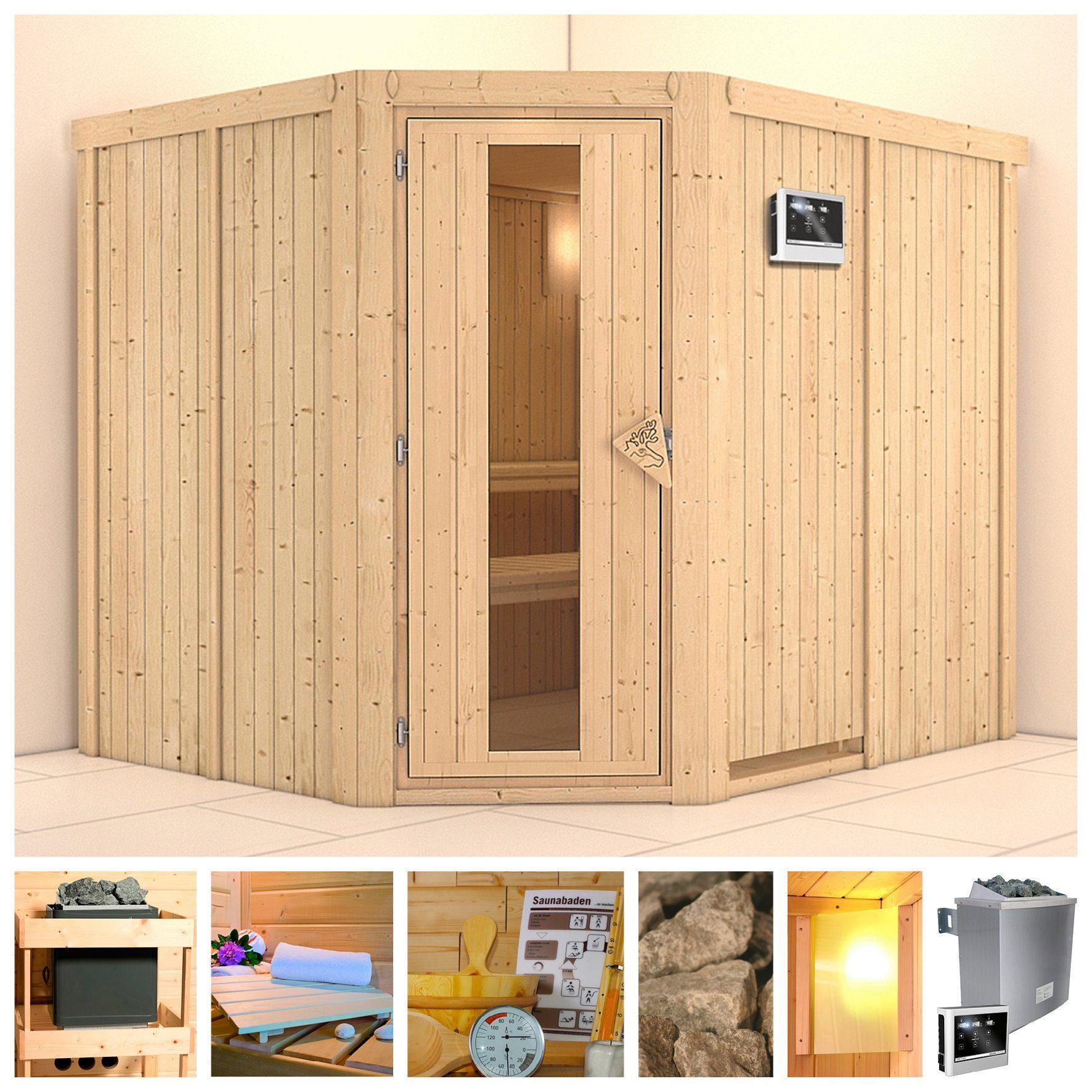 KONIFERA Sauna »Malin«, 231/196/198 cm, 9-kW-Ofen mit ext. Steuerung, Holztür
