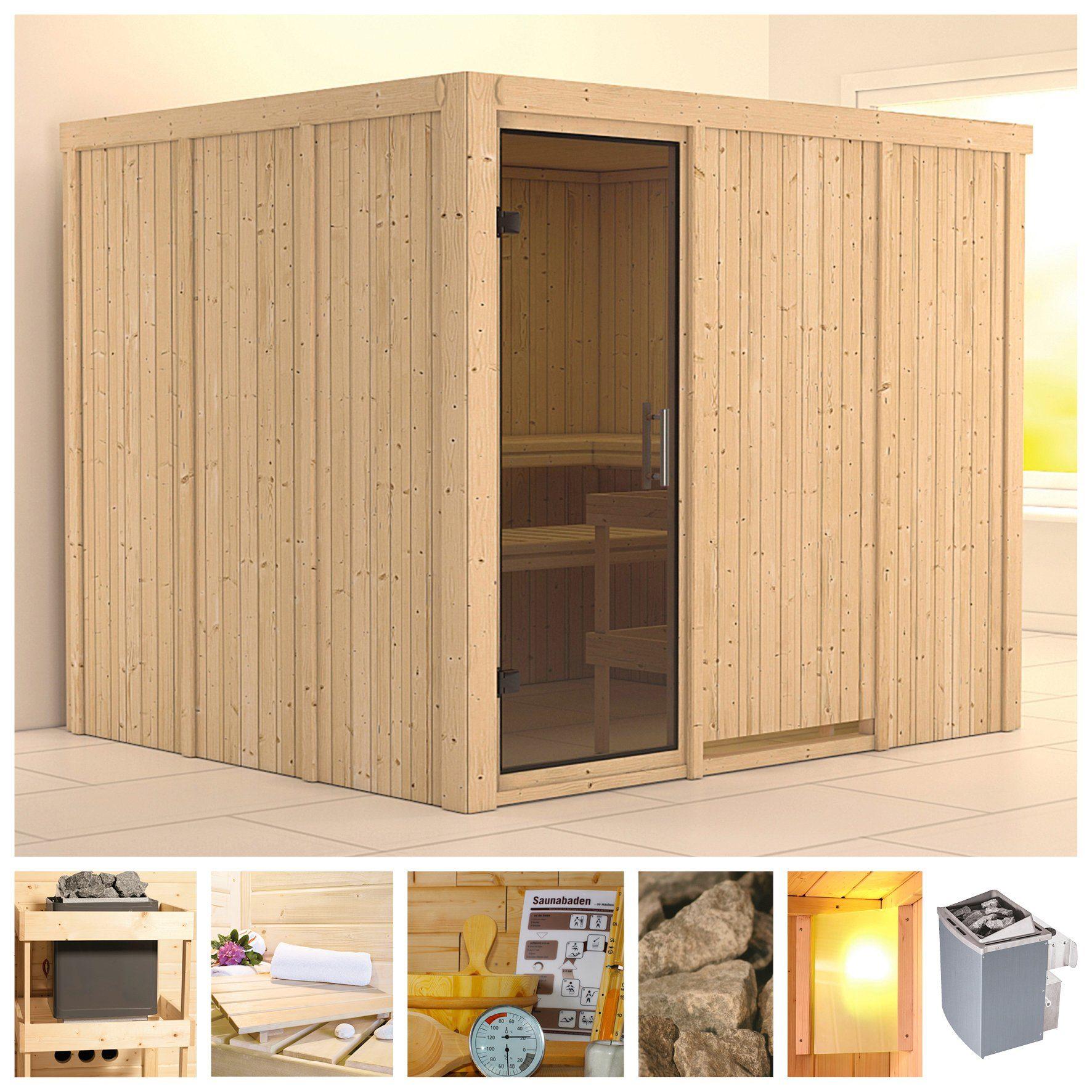 KONIFERA Sauna »Gobin«, 231/196/198 cm, 9-kW-Ofen mit int. Steuerung, Glastür grafit