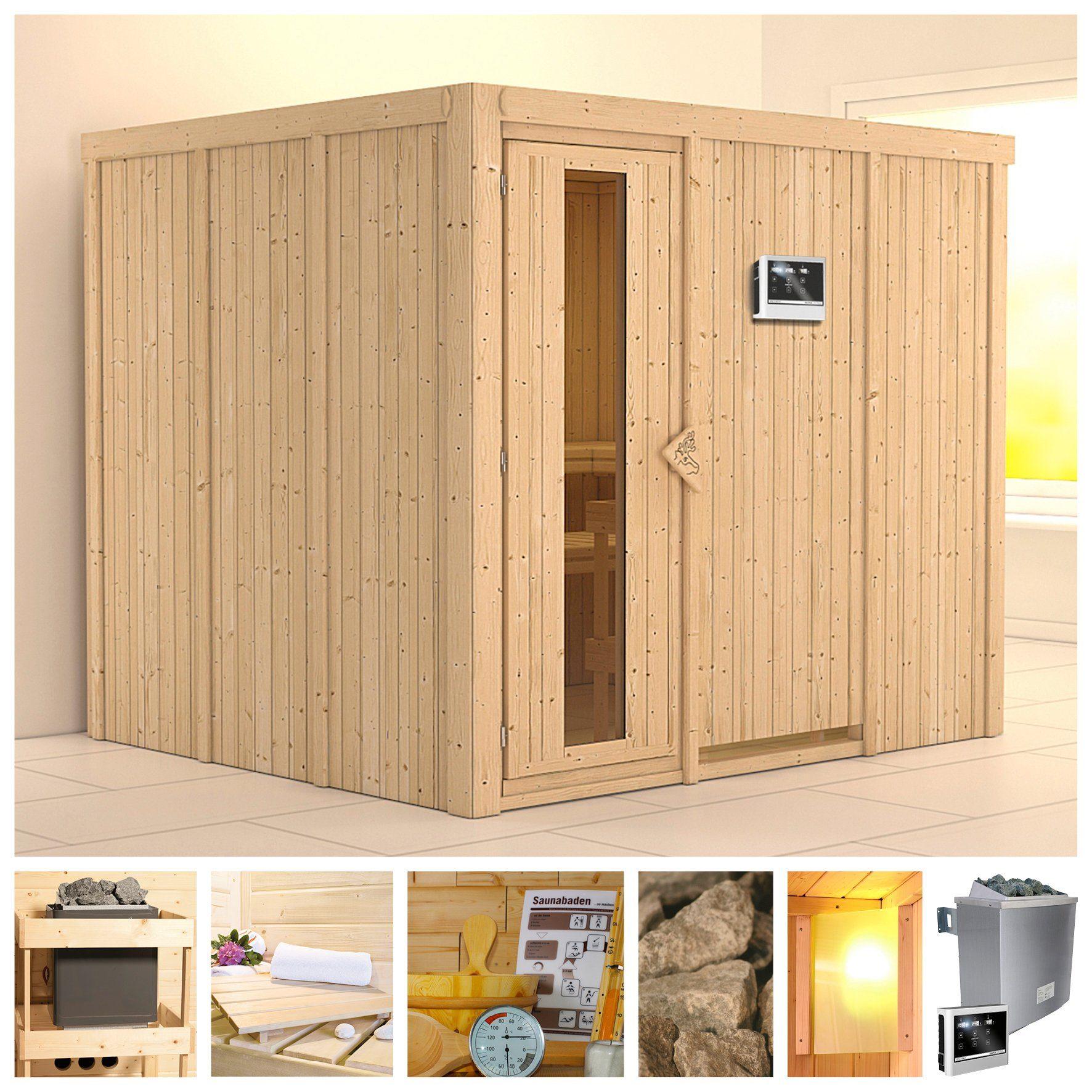 KONIFERA Sauna »Gobin«, 231/196/198 cm, 9-kW-Ofen mit ext. Steuerung, Holztür