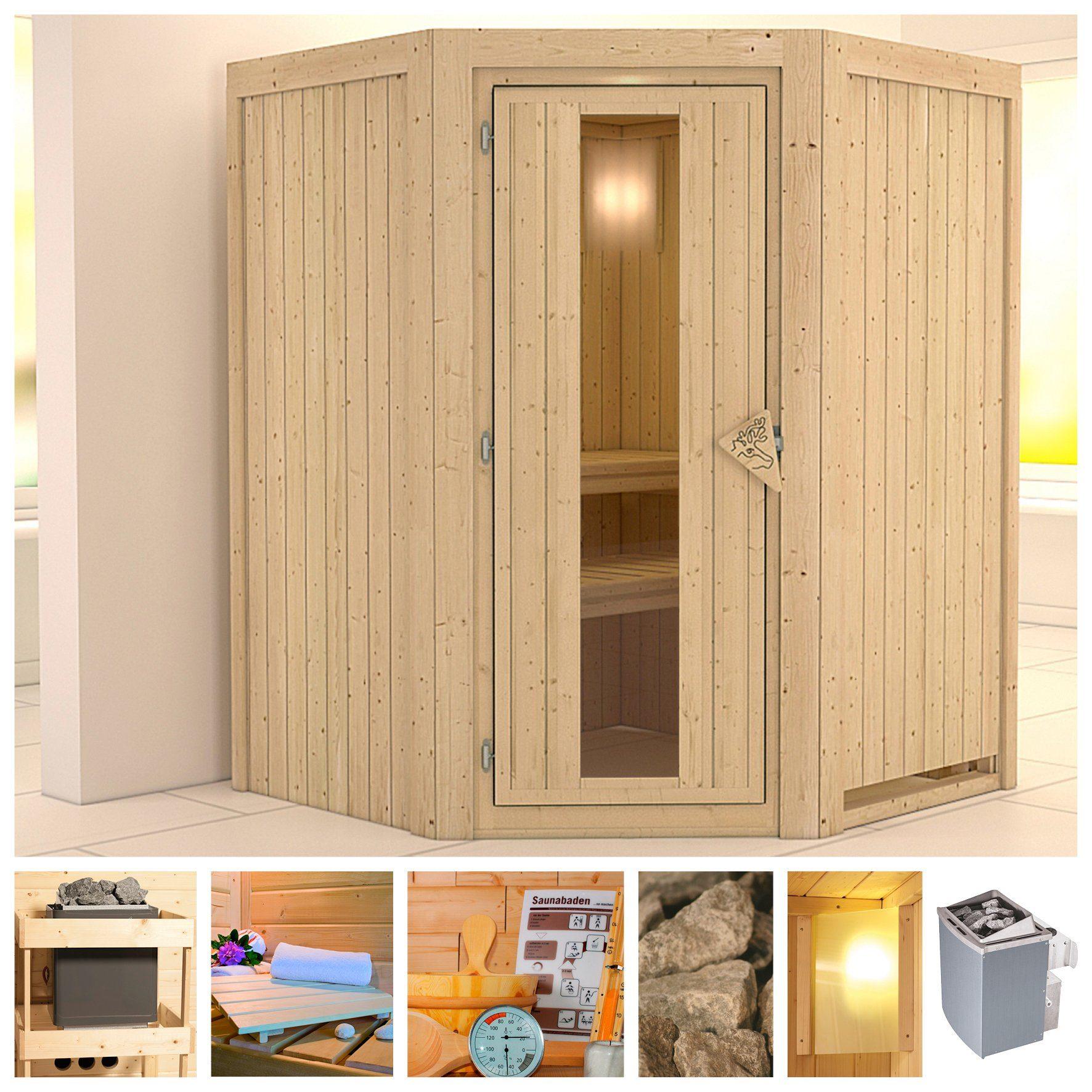 KONIFERA Sauna »Larin«, 151/151/198 cm, 9-kW-Ofen mit int. Steuerung, Holztür