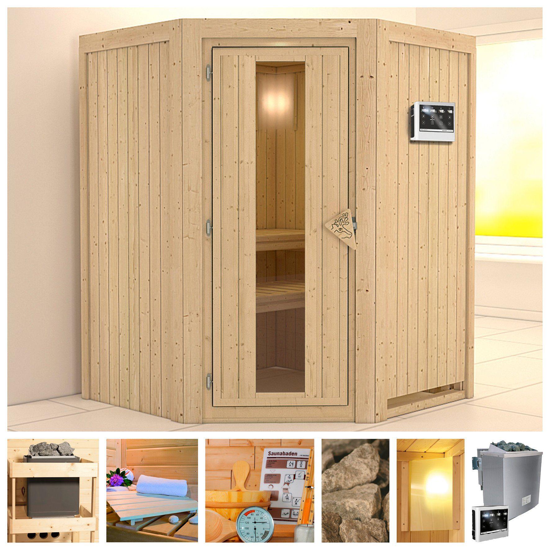 KONIFERA Sauna »Larin«, 151/151/198 cm, 9-kW-Bio-Ofen mit ext. Strg., Holztür