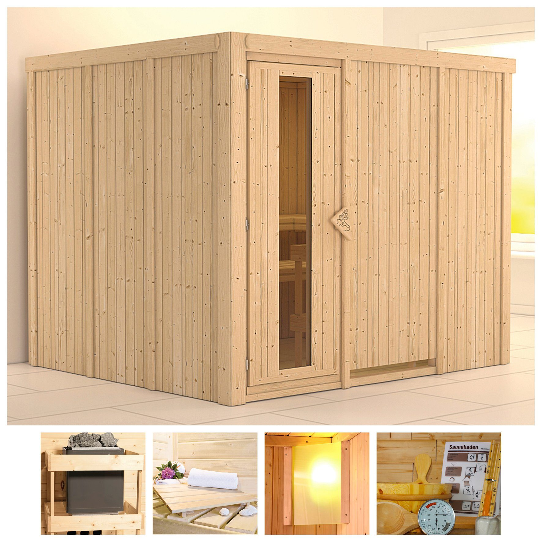 KONIFERA Sauna »Gobin«, 231/196/198 cm, ohne Ofen, Holztür