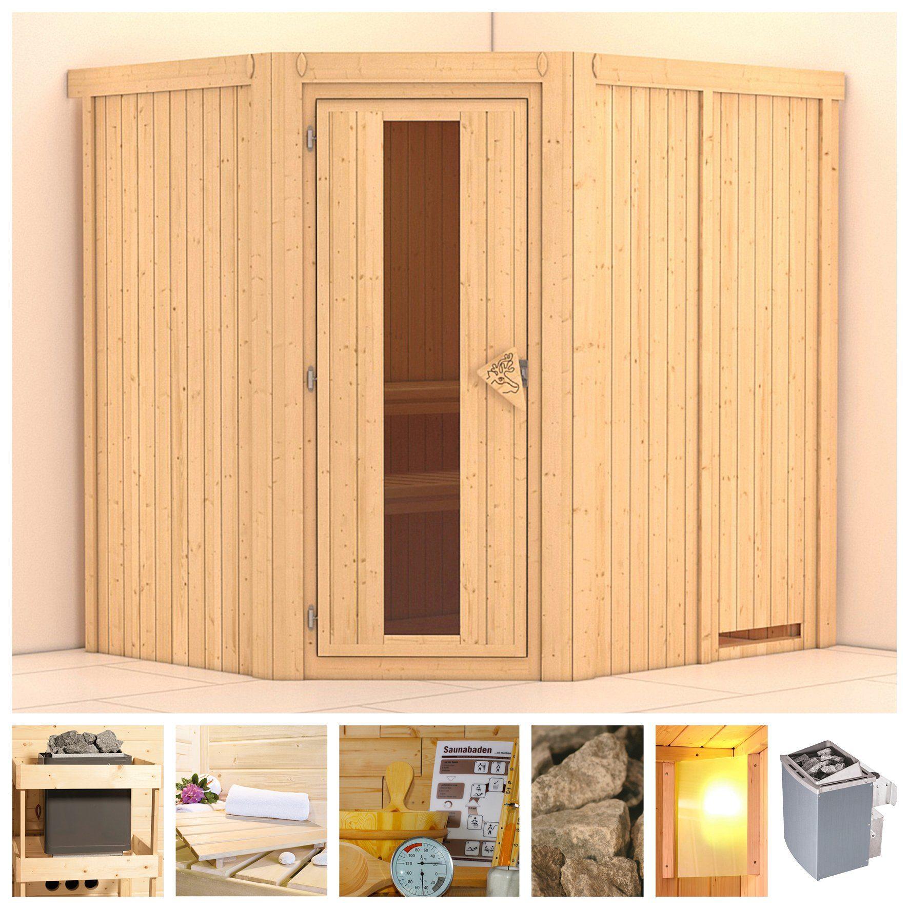 KONIFERA Sauna »Siirin«, 196/170/198 cm, 9-kW-Ofen mit int. Steuerung, Holztür