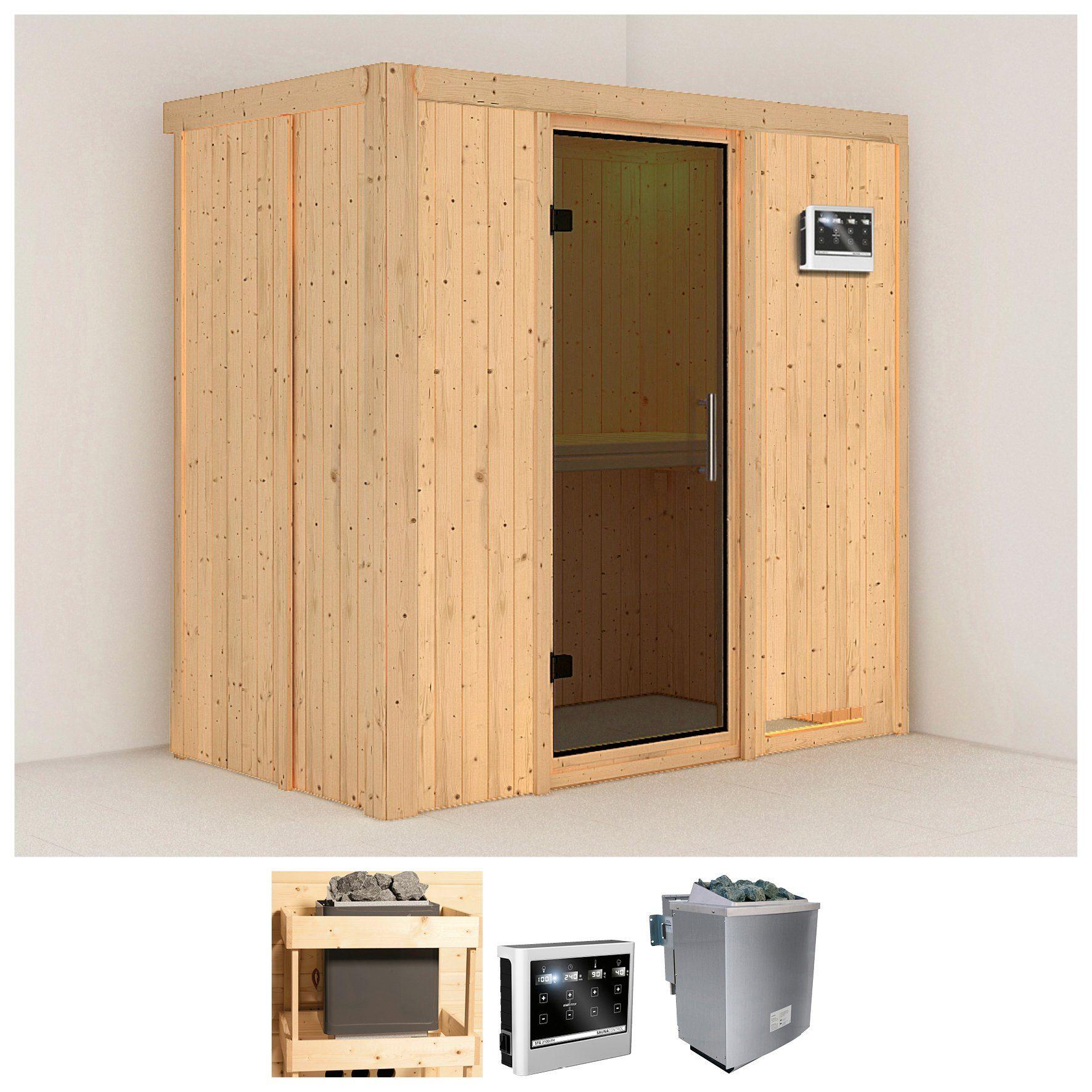 KONIFERA Sauna »Variado«, 196/118/198 cm, 9-kW-Bio-Ofen mit ext. Strg., Glastür grafit