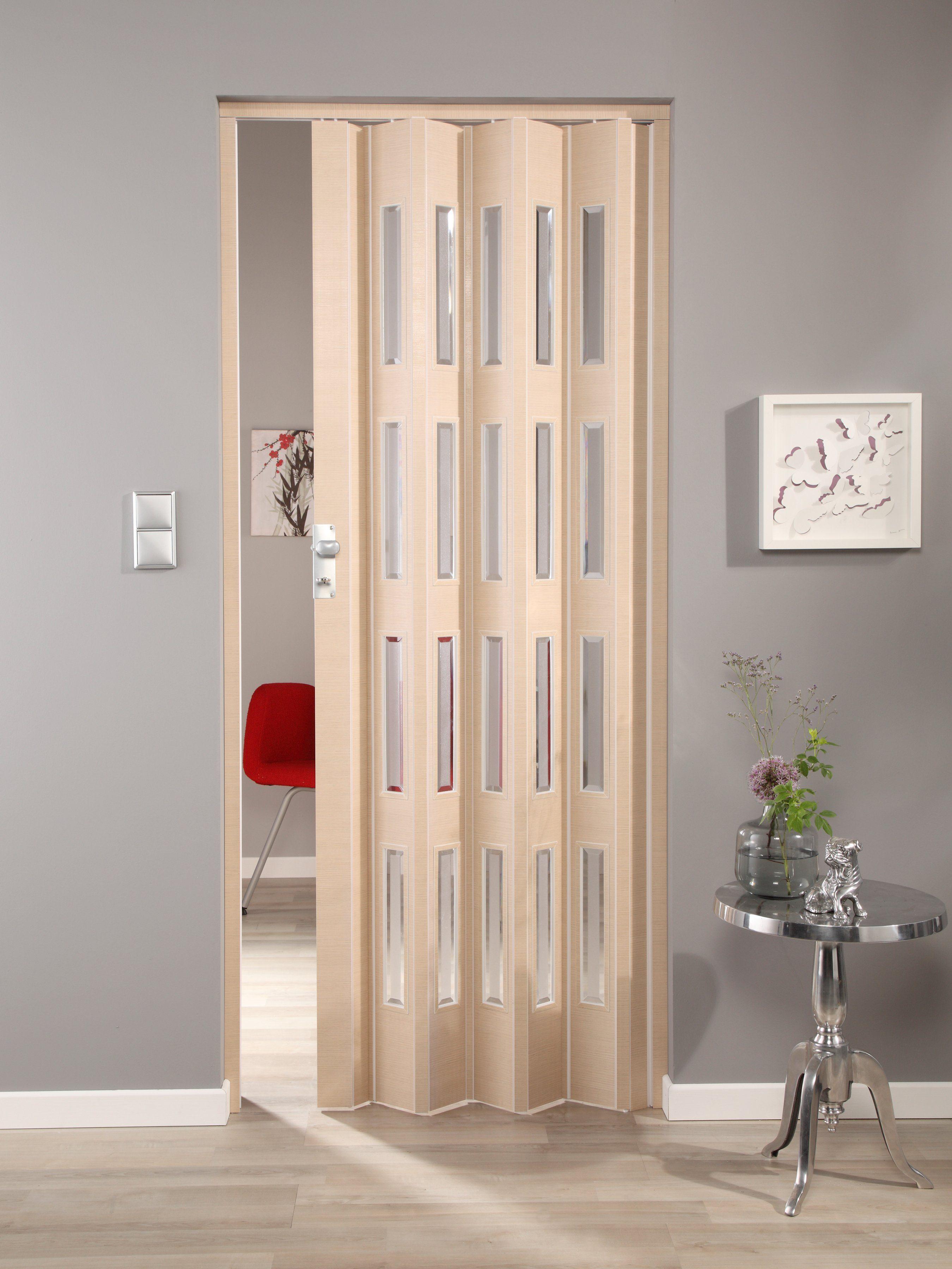 Kunststoff-Falttür »Elvira«, Höhe nach Maß, Wildeiche natur mit Cristall Fenstern