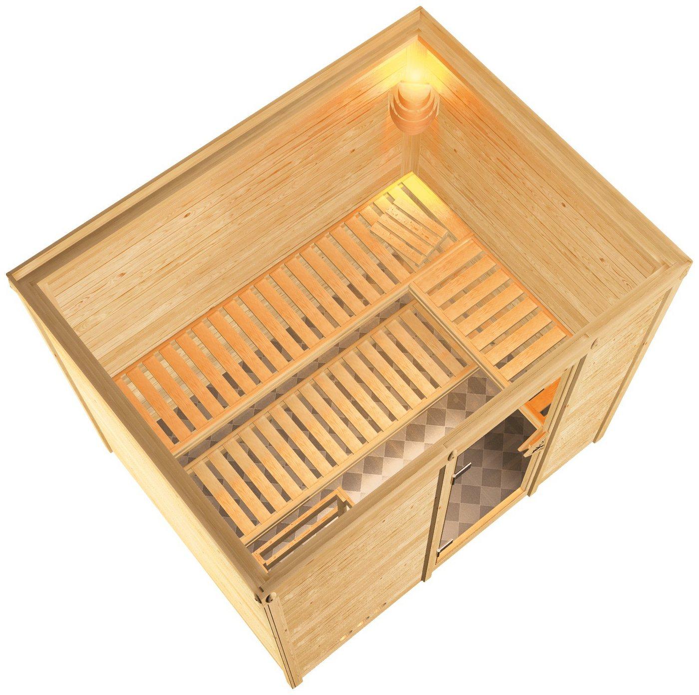 KARIBU Sauna »Sonara«, 236/184/209 cm, 9-kW-Ofen mit int. Steuerung, Glastür grafit