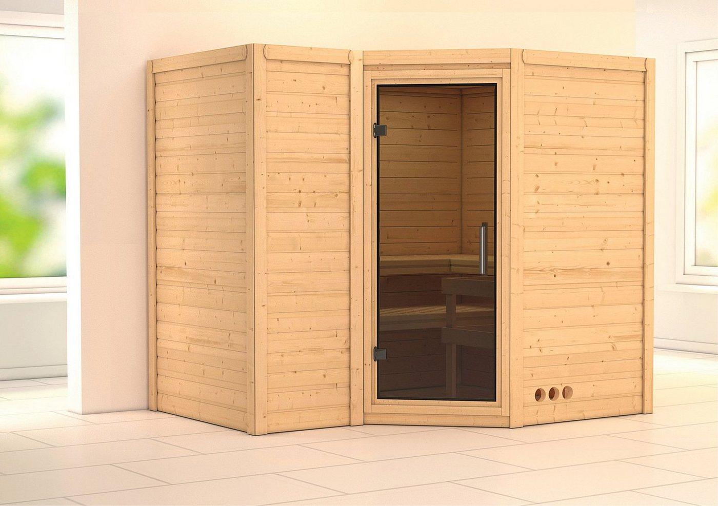 KARIBU Sauna »Sahib 2«, 236/184/206 cm, 9-kW-Ofen mit int. Steuerung, Glastür grafit