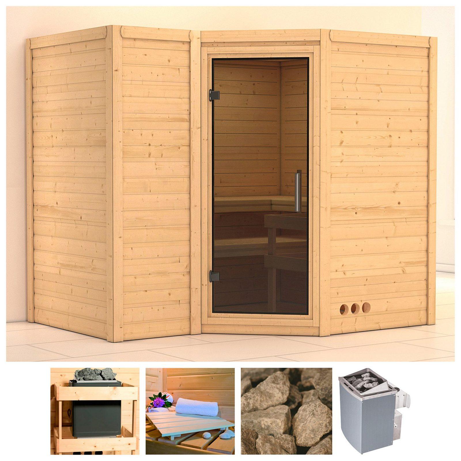 KONIFERA Sauna »Sahib 2«, 236/184/206 cm, 9-kW-Ofen mit int. Steuerung, Glastür grafit - broschei