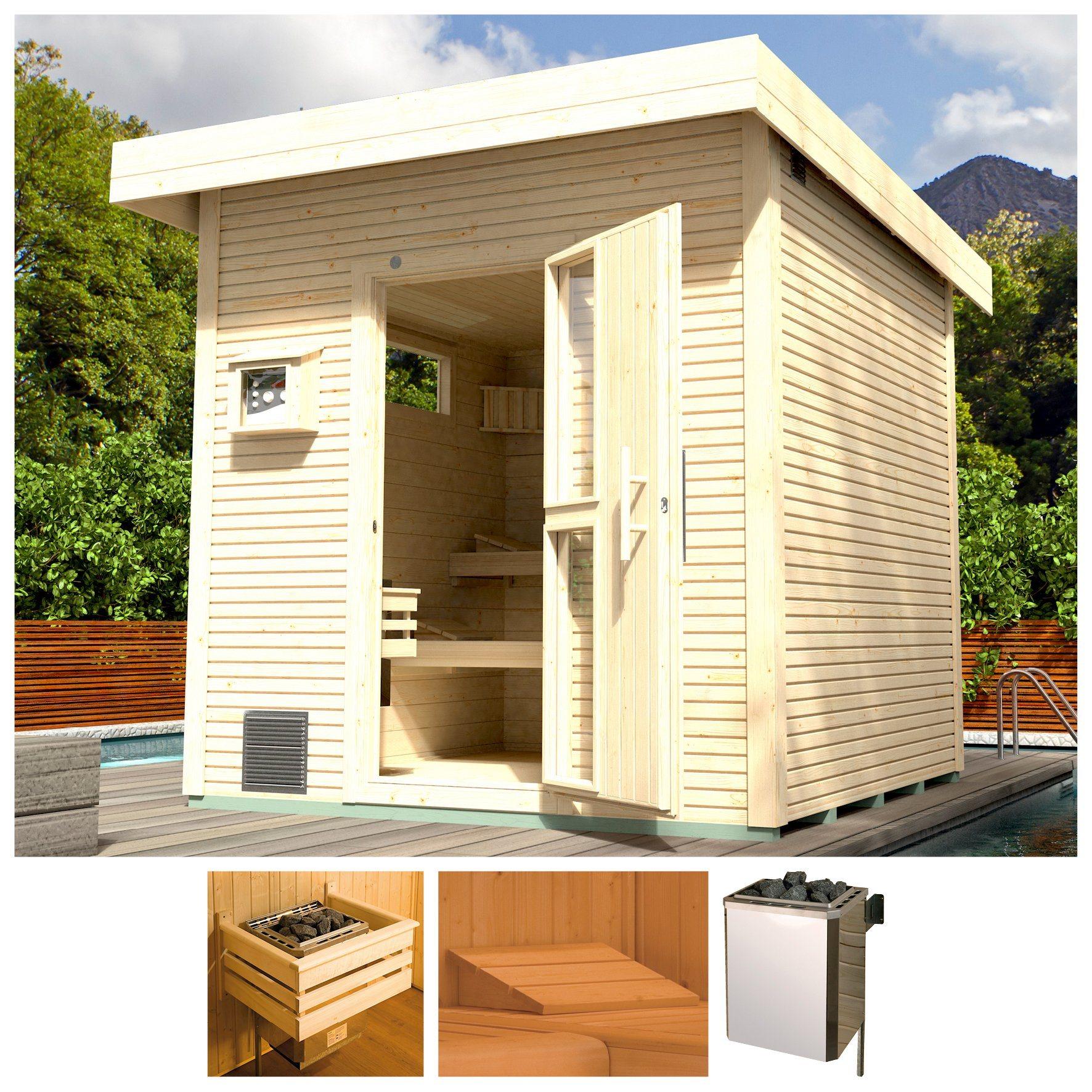 WEKA Saunahaus »Svendborg«, 262x298x253 cm, 45 mm, natur, 9-kW-Bio-Ofen mit ext. Strg. | Baumarkt > Bad und Sanitär > Sauna und Zubehör | weka