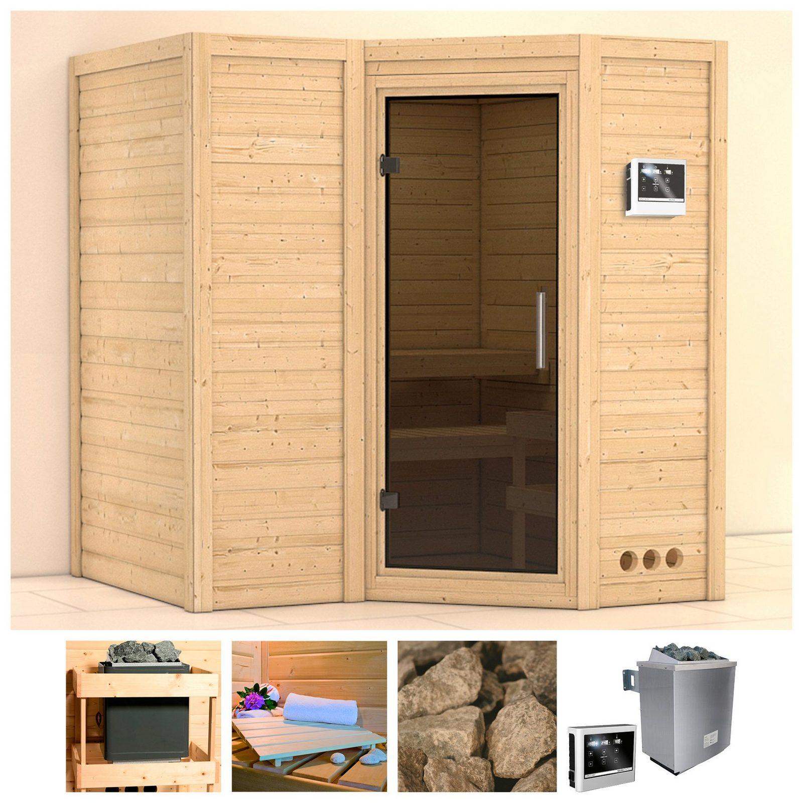 KARIBU Sauna »Sahib 1«, 193/184/206 cm, 9-kW-Ofen mit ext. Steuerung, Glastür grafit