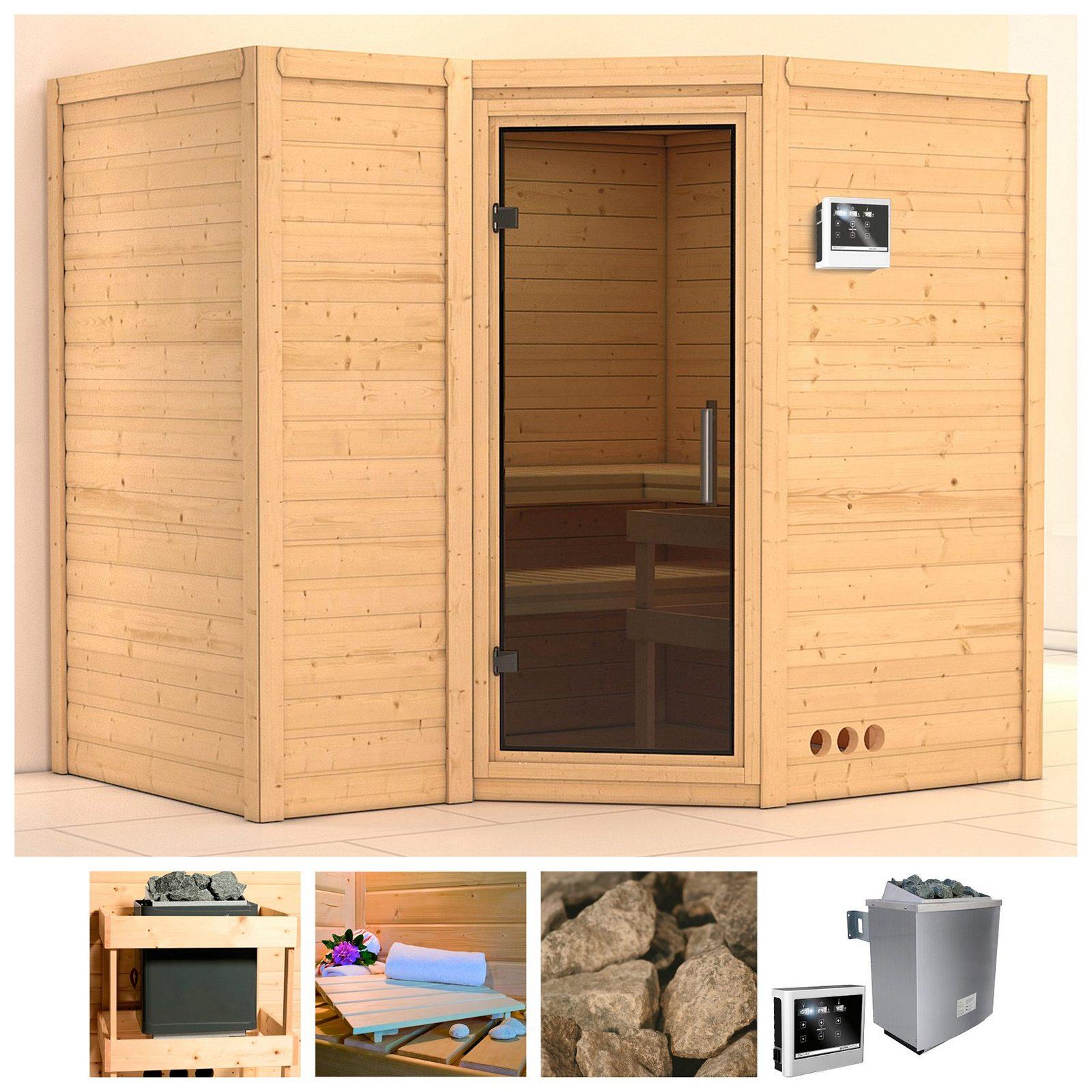 KONIFERA Sauna »Sahib 2«, 236/184/206 cm, 9-kW-Ofen mit ext. Steuerung, Glastür grafit jetztbilligerkaufen