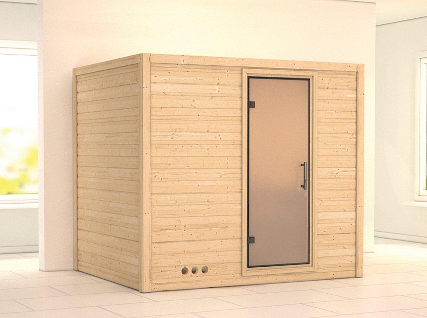 KARIBU Sauna »Sonara«, 236/184/209 cm, 9-kW-Ofen, int. Steuerung, Glastür satiniert