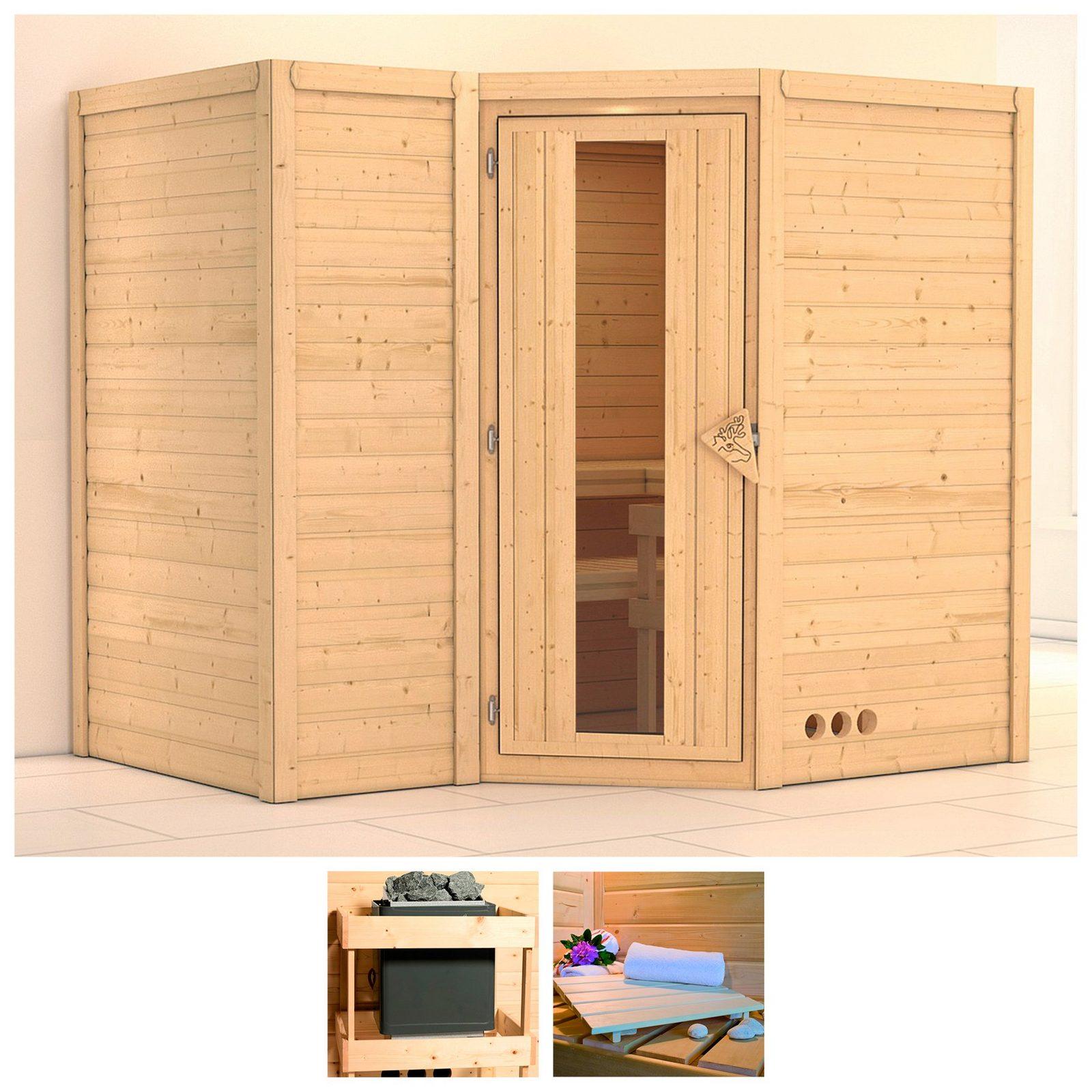 KONIFERA Sauna »Sahib 2«, 236/184/206 cm, ohne Ofen, Holztür - broschei