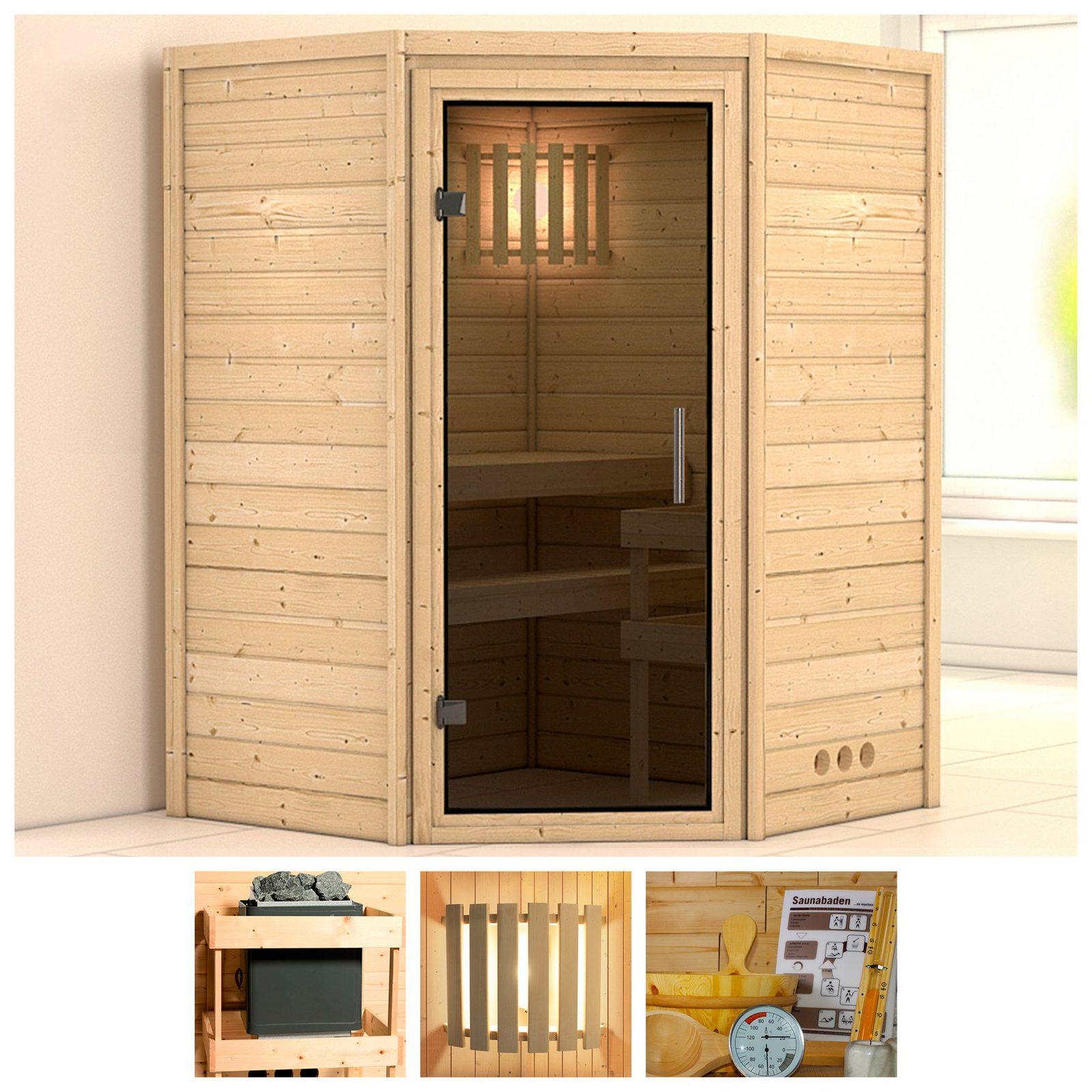 KONIFERA Sauna »Franka«, 144/144/200 cm, ohne Ofen, Glastür grafit