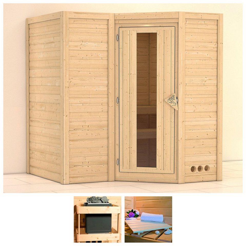 karibu sauna sahib 1 193 184 206 cm ohne ofen holzt r. Black Bedroom Furniture Sets. Home Design Ideas