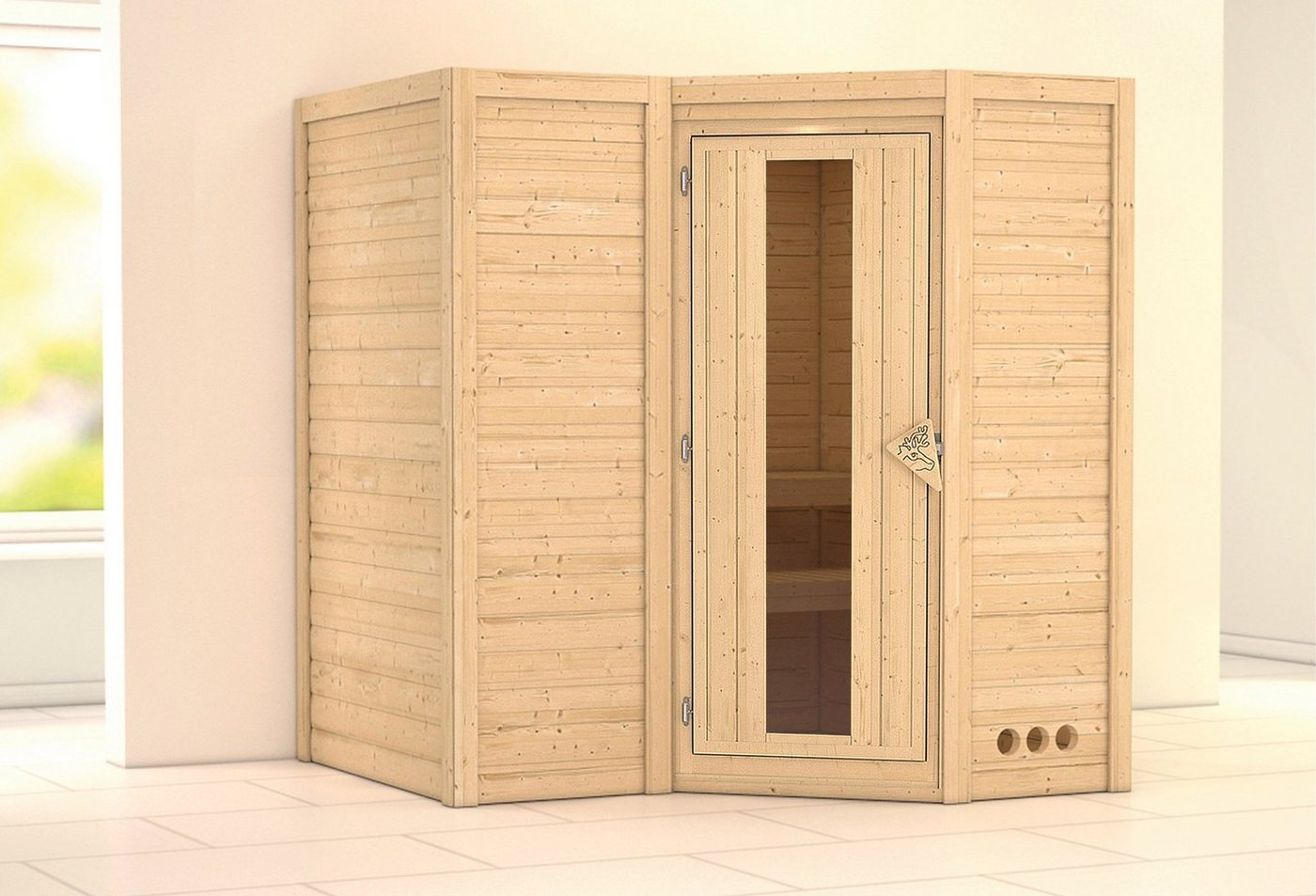 KARIBU Sauna »Sahib 1«, 193/184/206 cm, ohne Ofen, Holztür