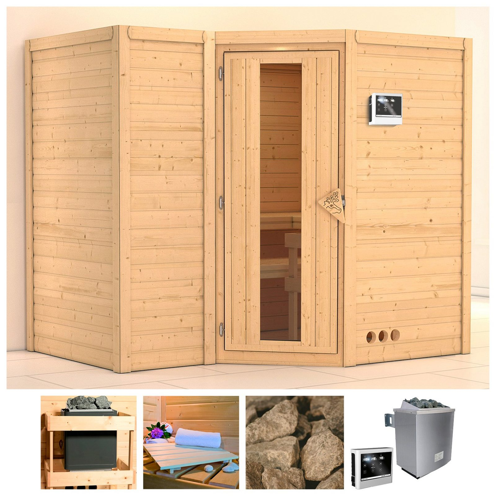 KONIFERA Sauna »Sahib 2«, 236/184/206 cm, 9-kW-Ofen mit ext. Steuerung, Holztür - broschei
