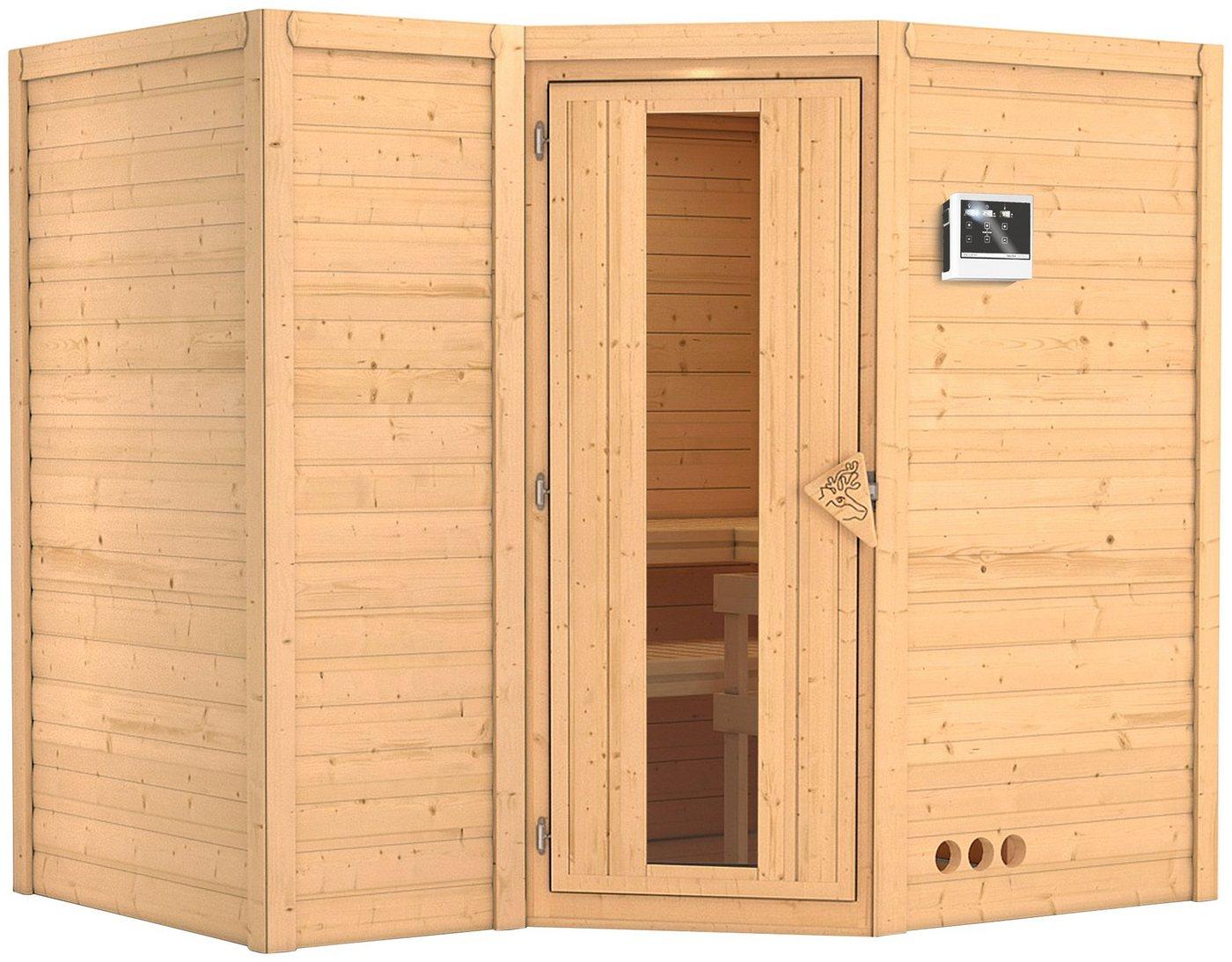 KARIBU Sauna »Sahib 2«, 236/184/206 cm, 9-kW-Ofen mit ext. Steuerung, Holztür