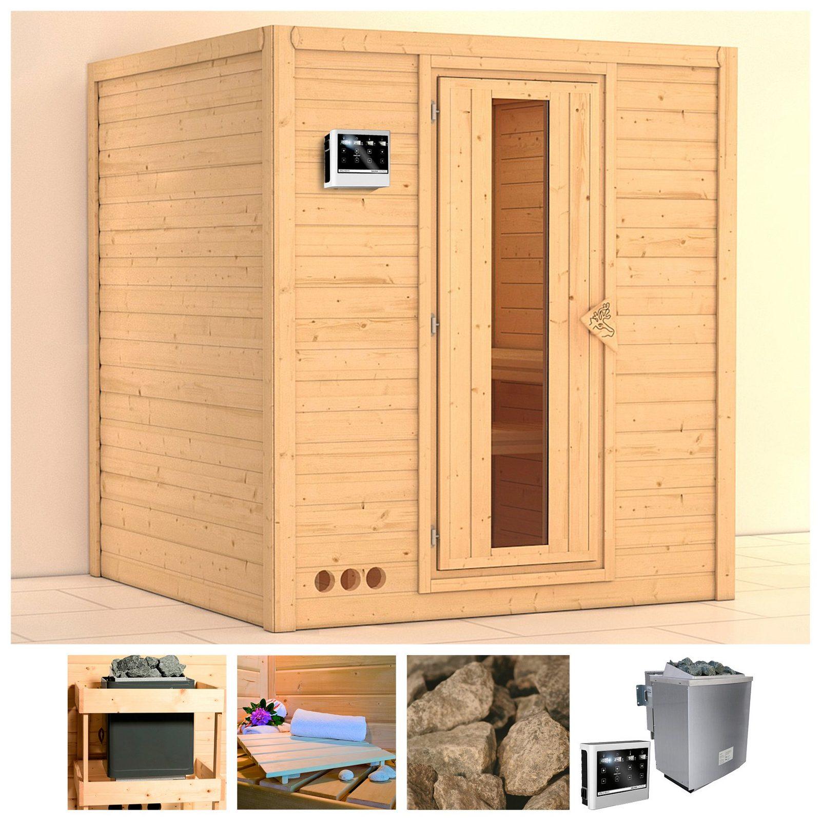 KARIBU Sauna »Mojave«, 193/184/209 cm, 9-kW-Bio-Ofen mit ext. Strg., Holztür