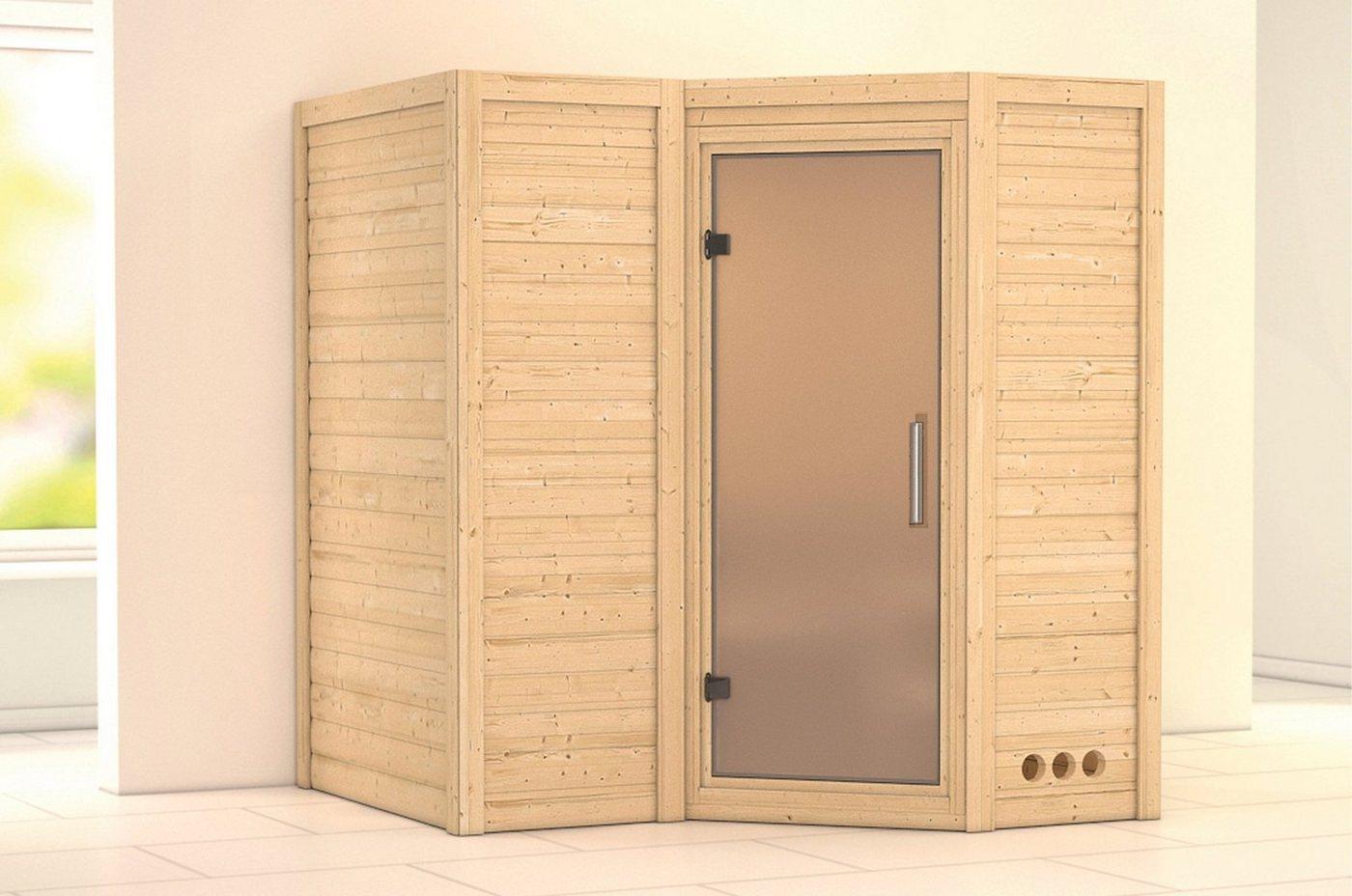 KARIBU Sauna »Sahib 1«, 193/184/206 cm, 9-kW-Ofen, int. Steuerung, Glastür satiniert