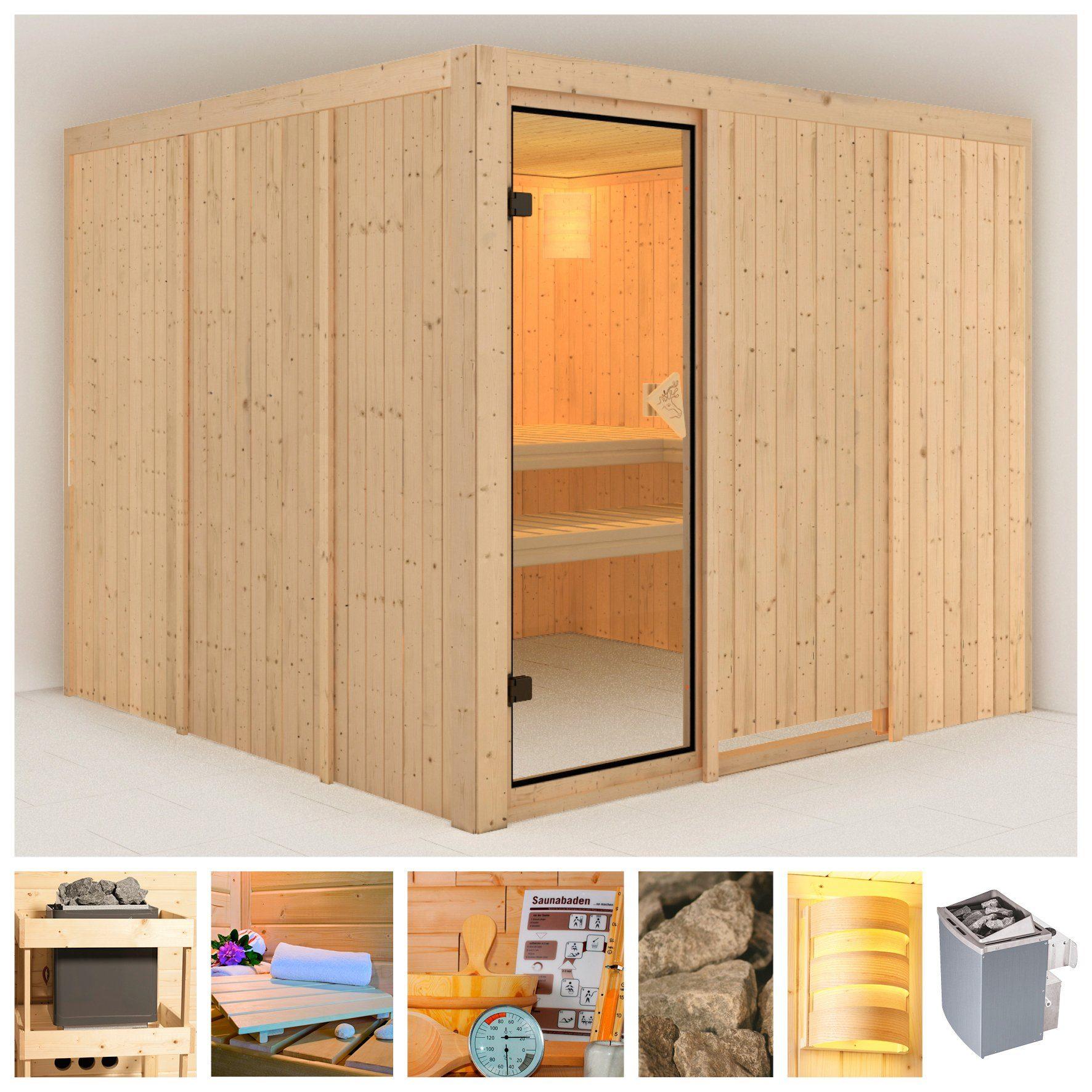 KONIFERA Sauna »Monique«, 231/231/198 cm, 68 mm, 9-kW-Ofen mit int. Steuerung