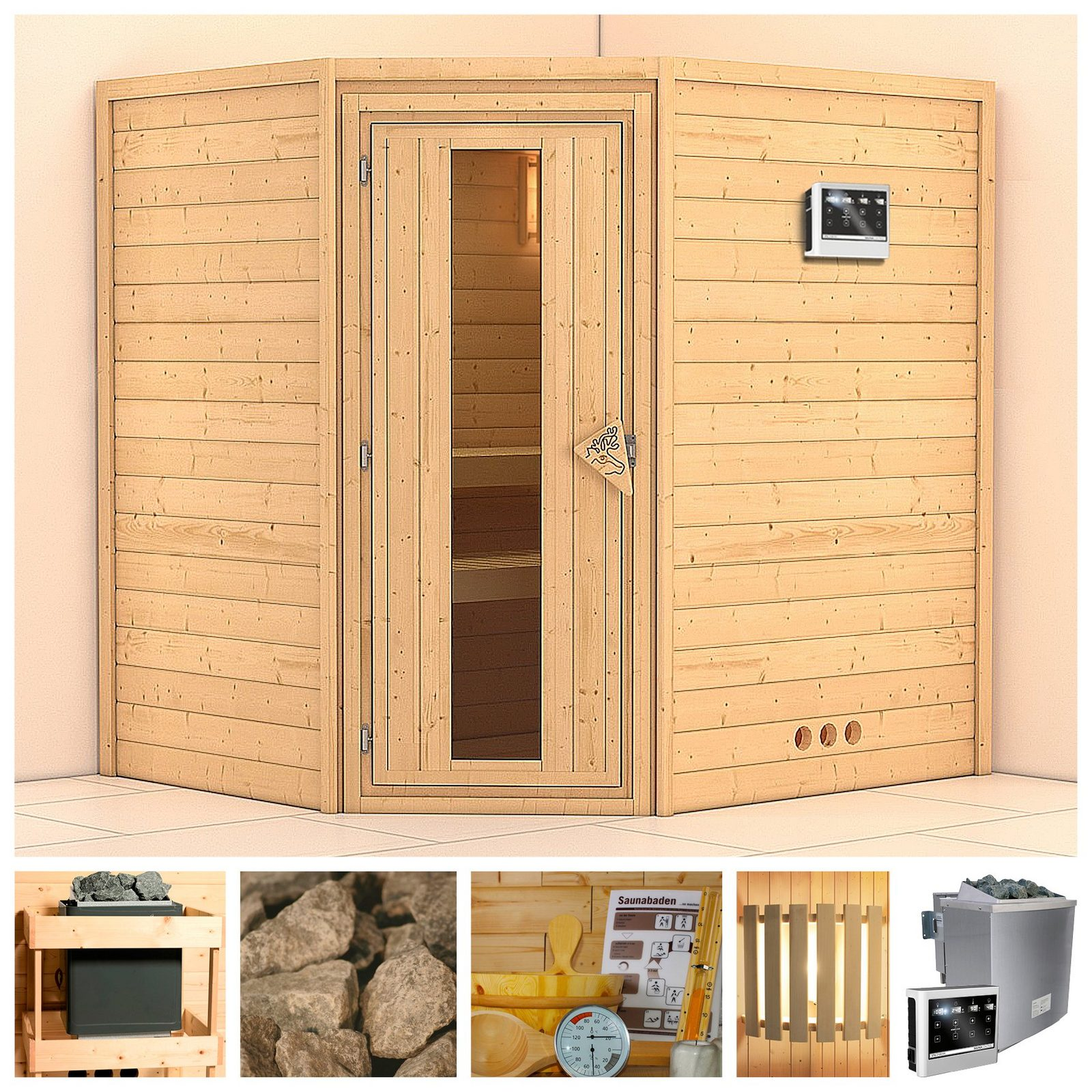 KONIFERA Sauna »Mia«, 196/170/200 cm, 9-kW-Bio-Ofen mit ext. Strg., Holztür