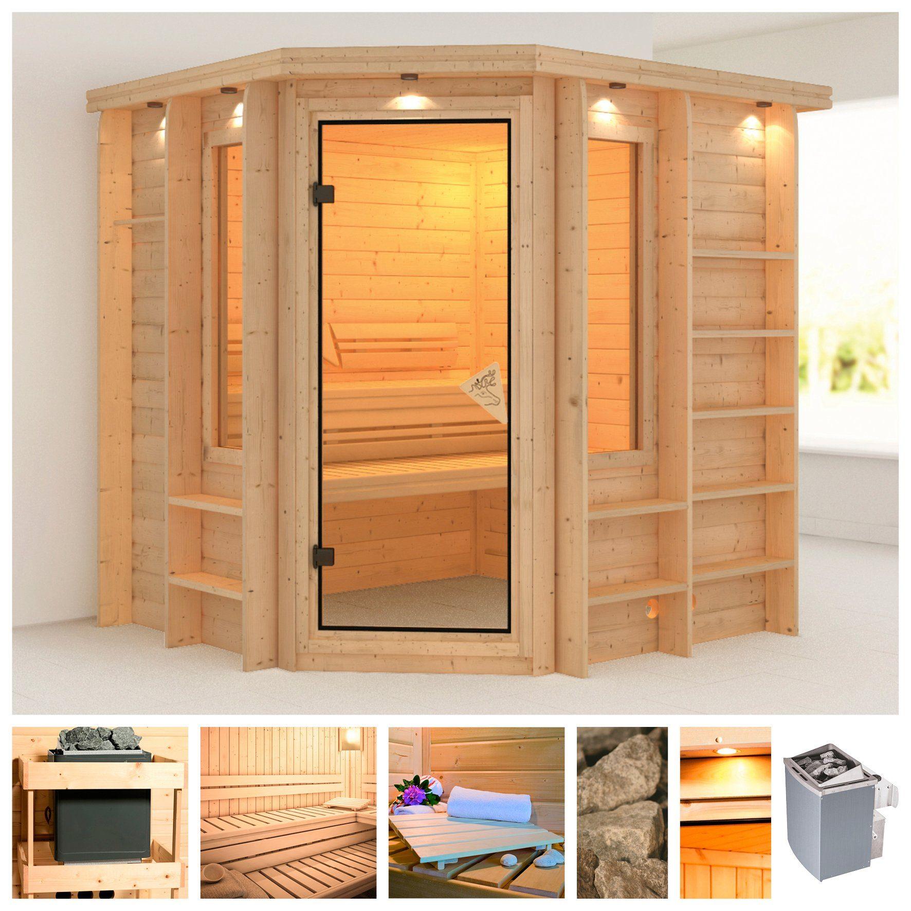 KARIBU Sauna »Cortona«, 218/198/212 cm, 40 mm, 9-kW-Ofen mit int. Steuerung