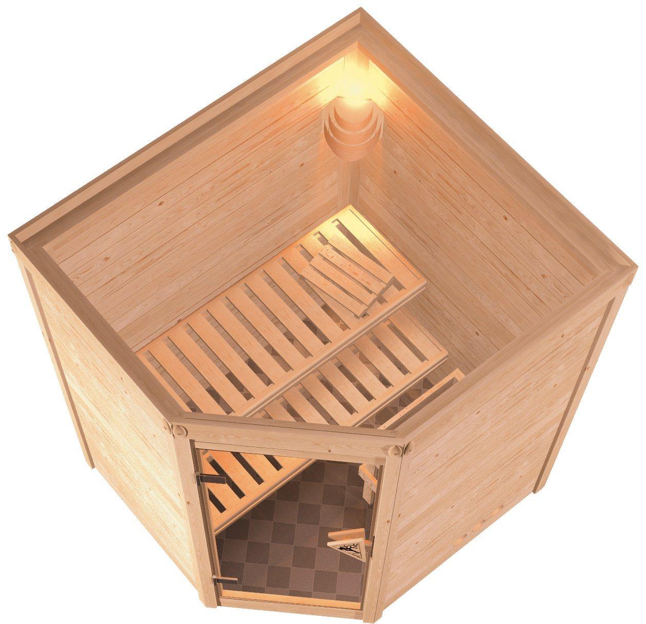 KONIFERA Sauna »Franka«, 144/144/200 cm, ohne Ofen, Glastür klar