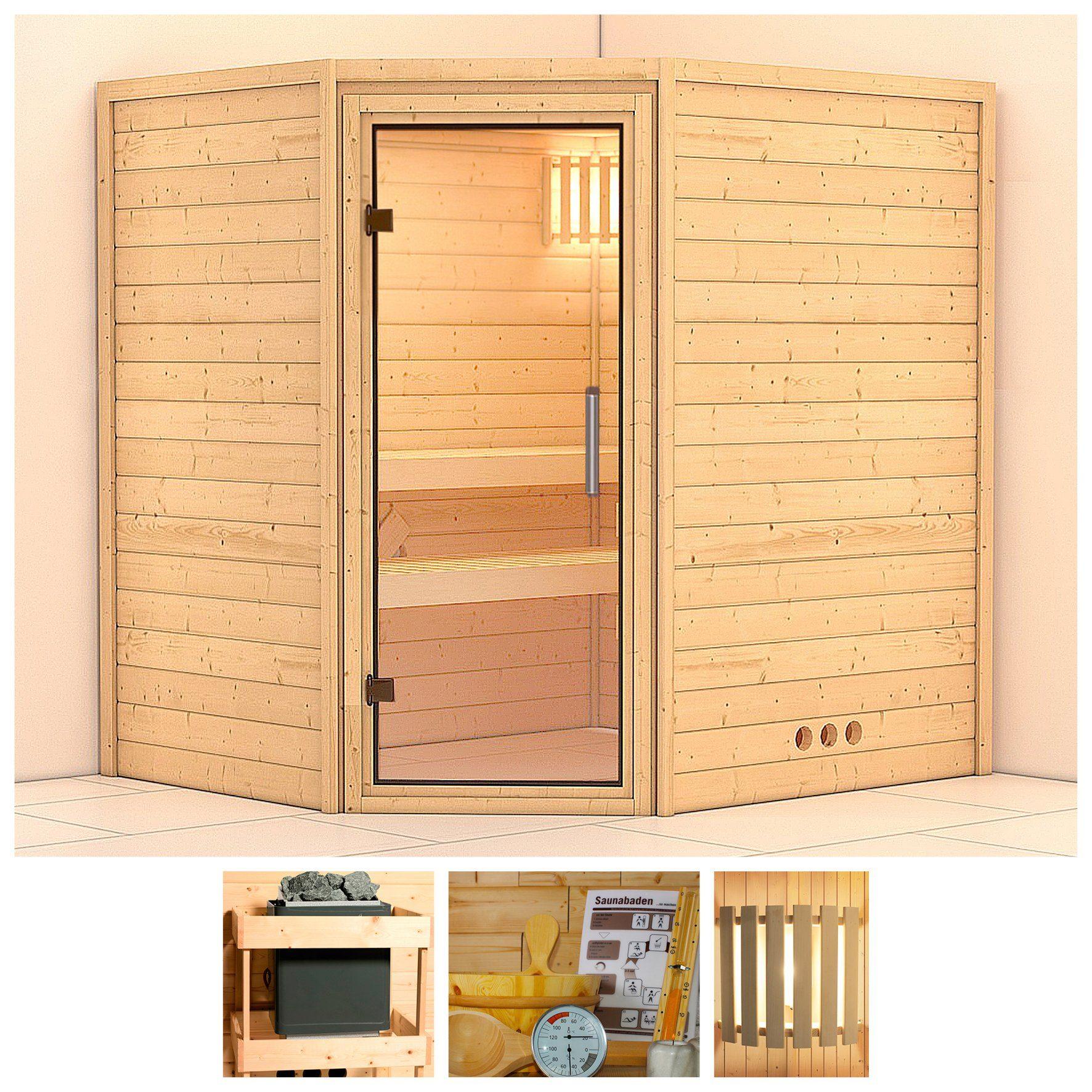 KONIFERA Sauna »Mia«, 196/170/200 cm, ohne Ofen, Glastür klar