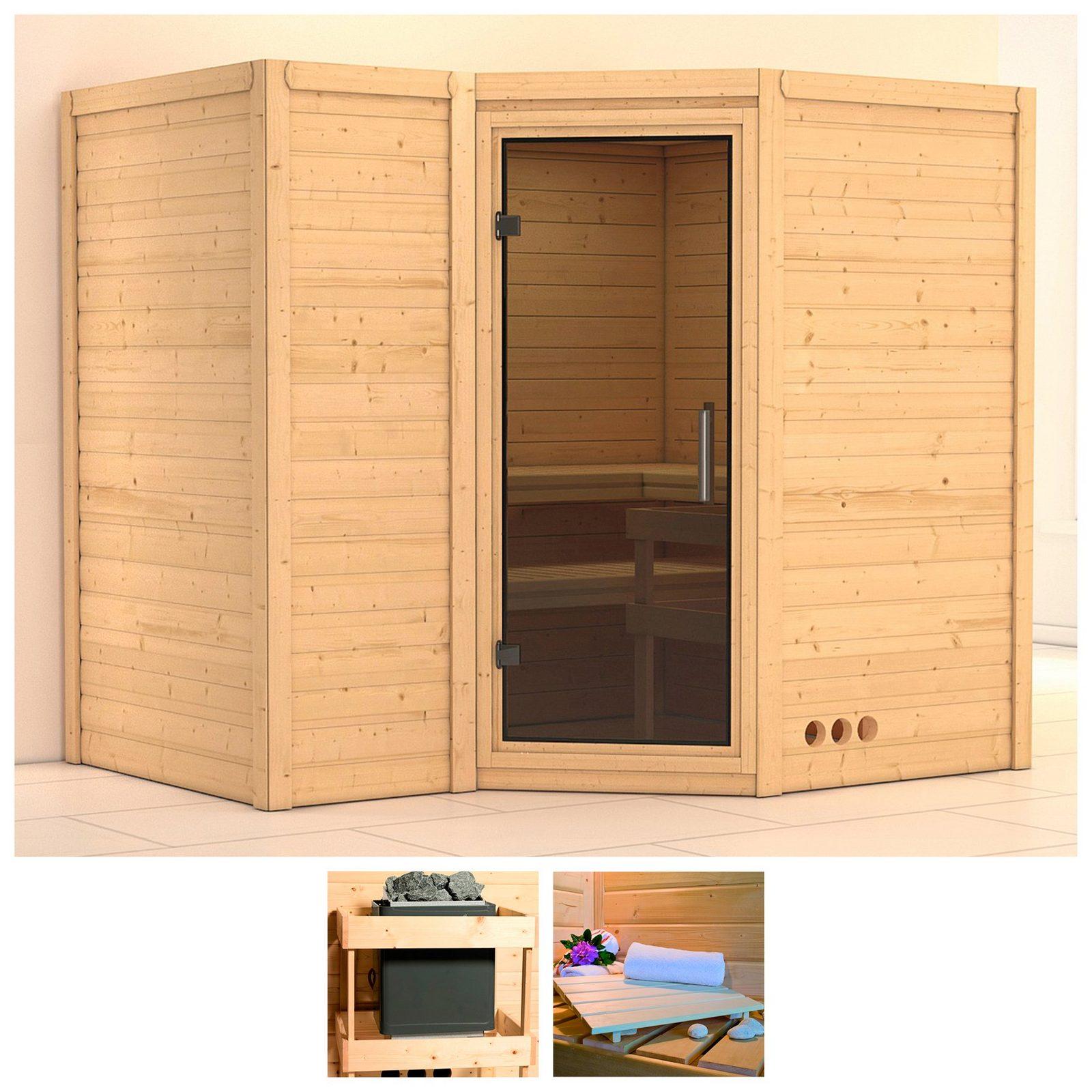 KONIFERA Sauna »Sahib 2«, 236/184/206 cm, ohne Ofen, Glastür grafit