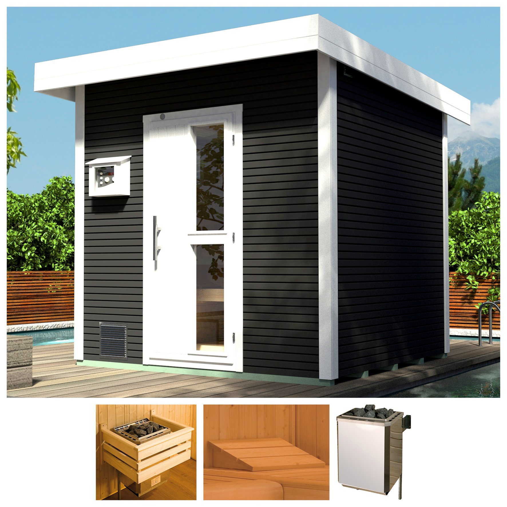 WEKA Saunahaus »Svendborg«, 262x298x253 cm, 45 mm, grau, 9-kW-Bio-Ofen mit ext. Strg. | Baumarkt > Bad und Sanitär > Sauna und Zubehör | weka
