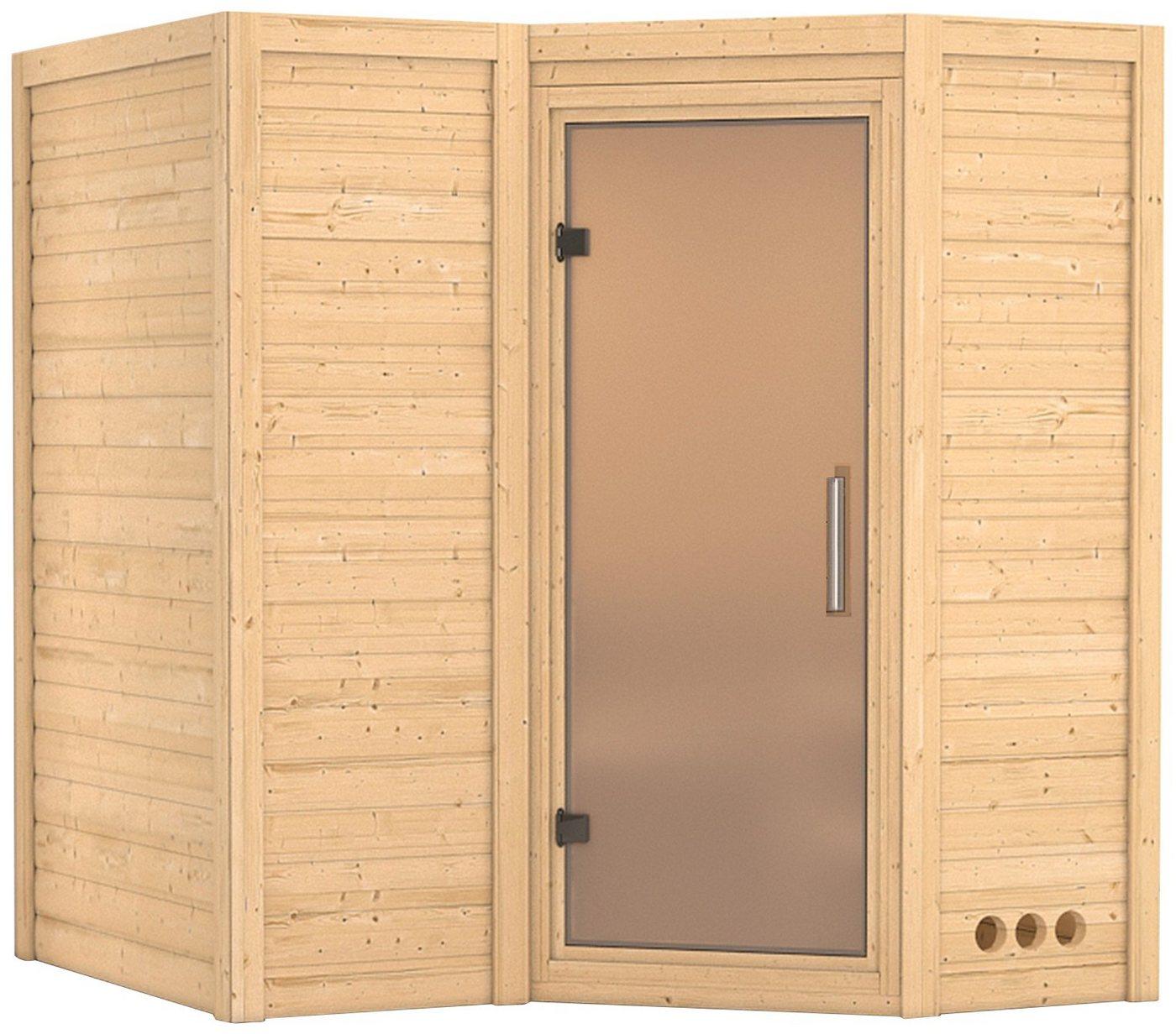 KARIBU Sauna »Sahib 1«, 193/184/206 cm, ohne Ofen, Glastür satiniert