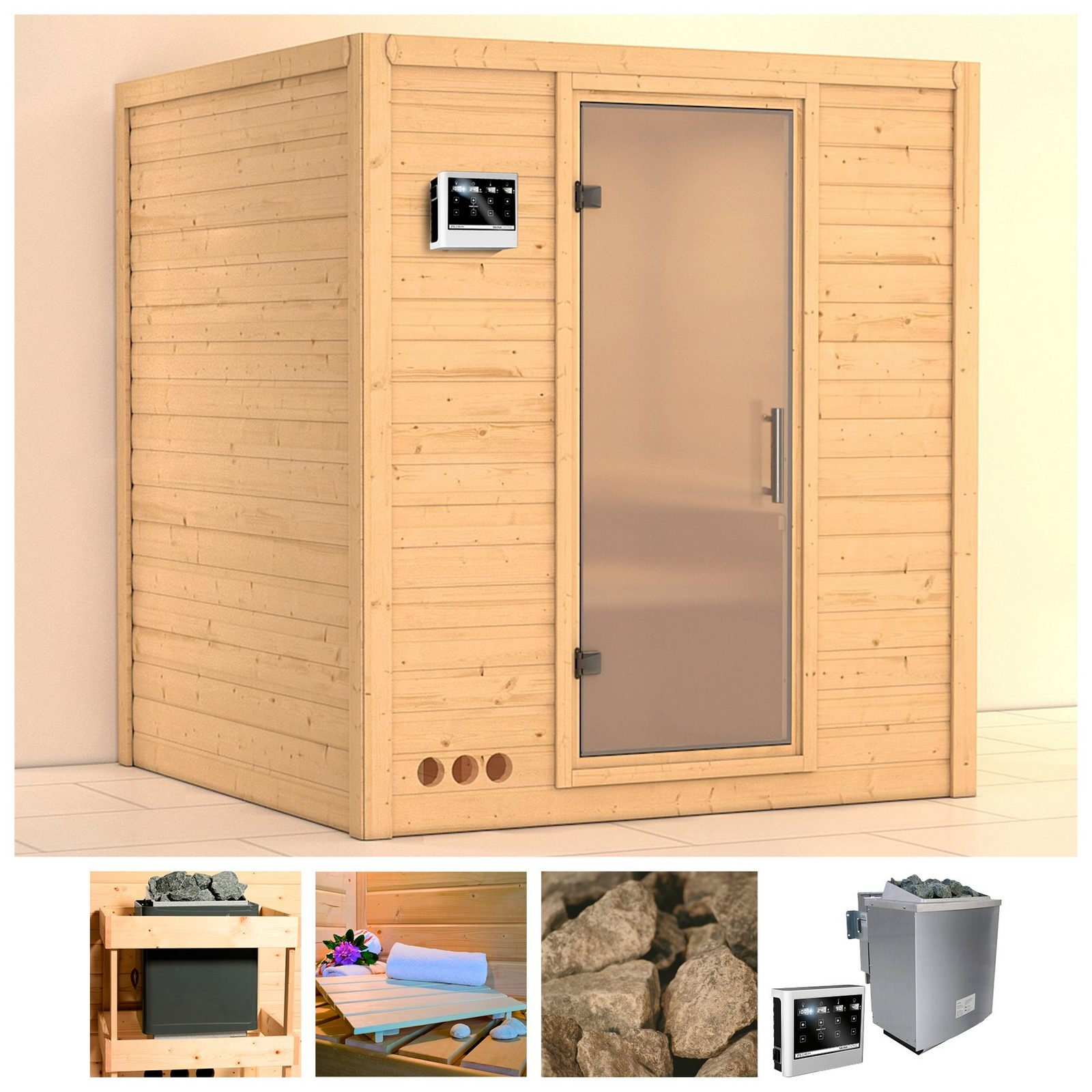KARIBU Sauna »Mojave«, 193/184/209 cm, 9-kW-Bio-Ofen, ext. Strg., Glastür satiniert