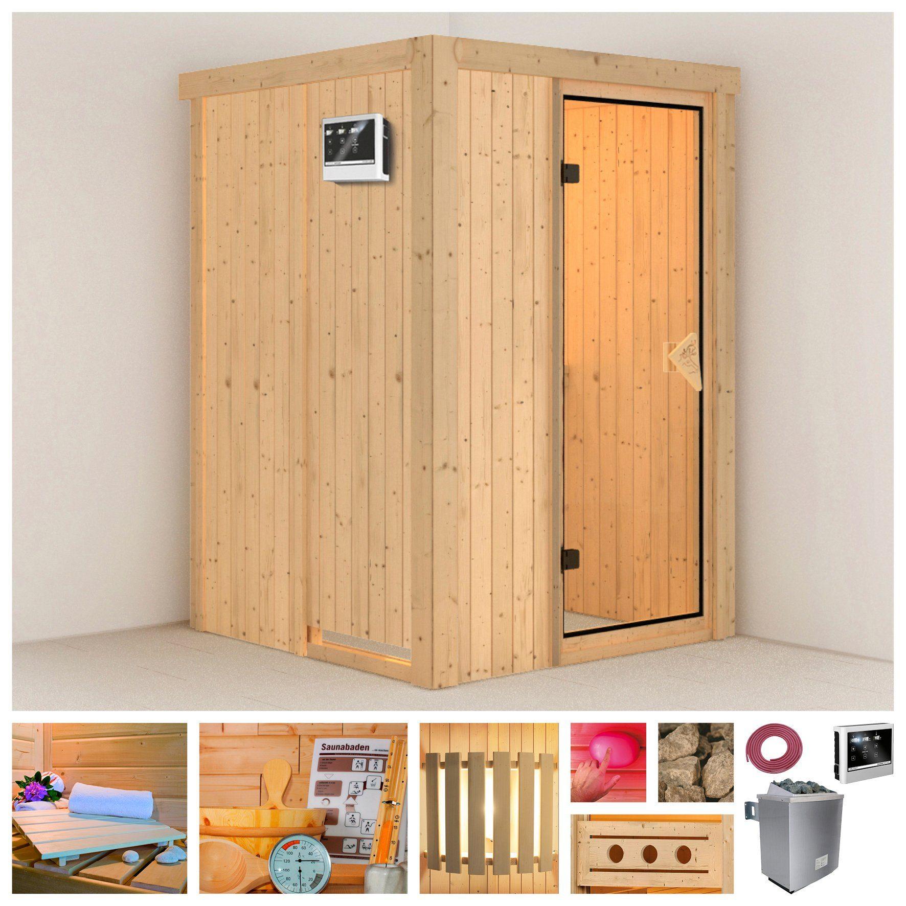 KONIFERA Sauna »Linda«, 135/135/198 cm, 68 mm, 9-kW-Ofen mit ext. Steuerung