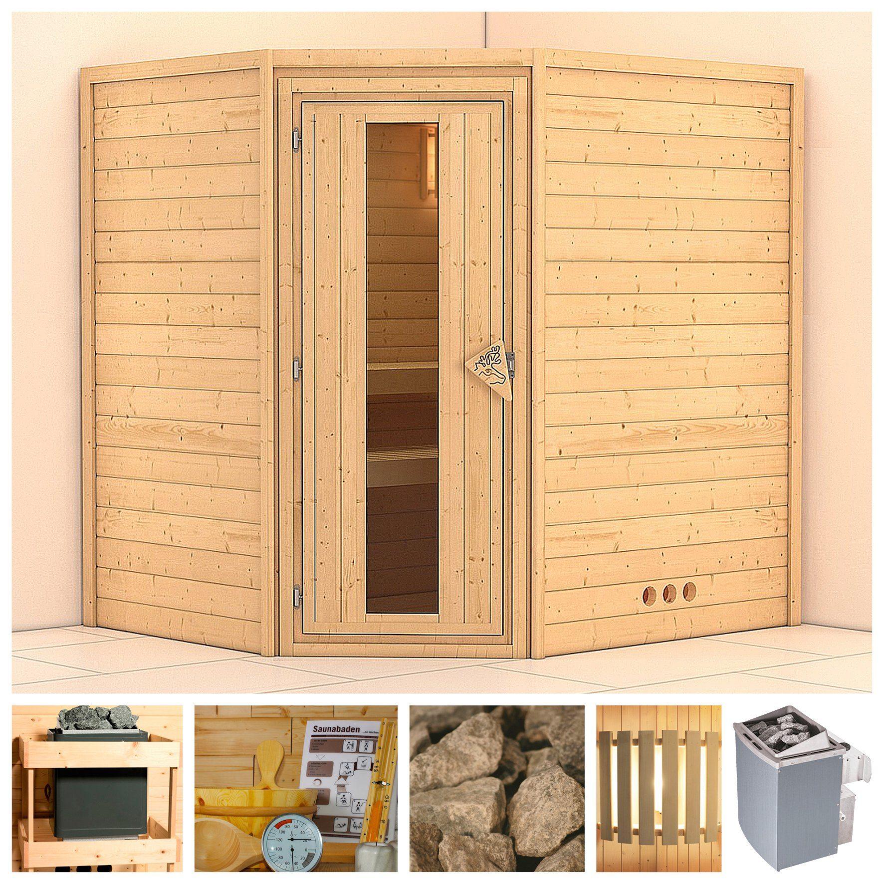 KONIFERA Sauna »Mia«, 196/170/200 cm, 9-kW-Ofen mit int. Steuerung, Holztür