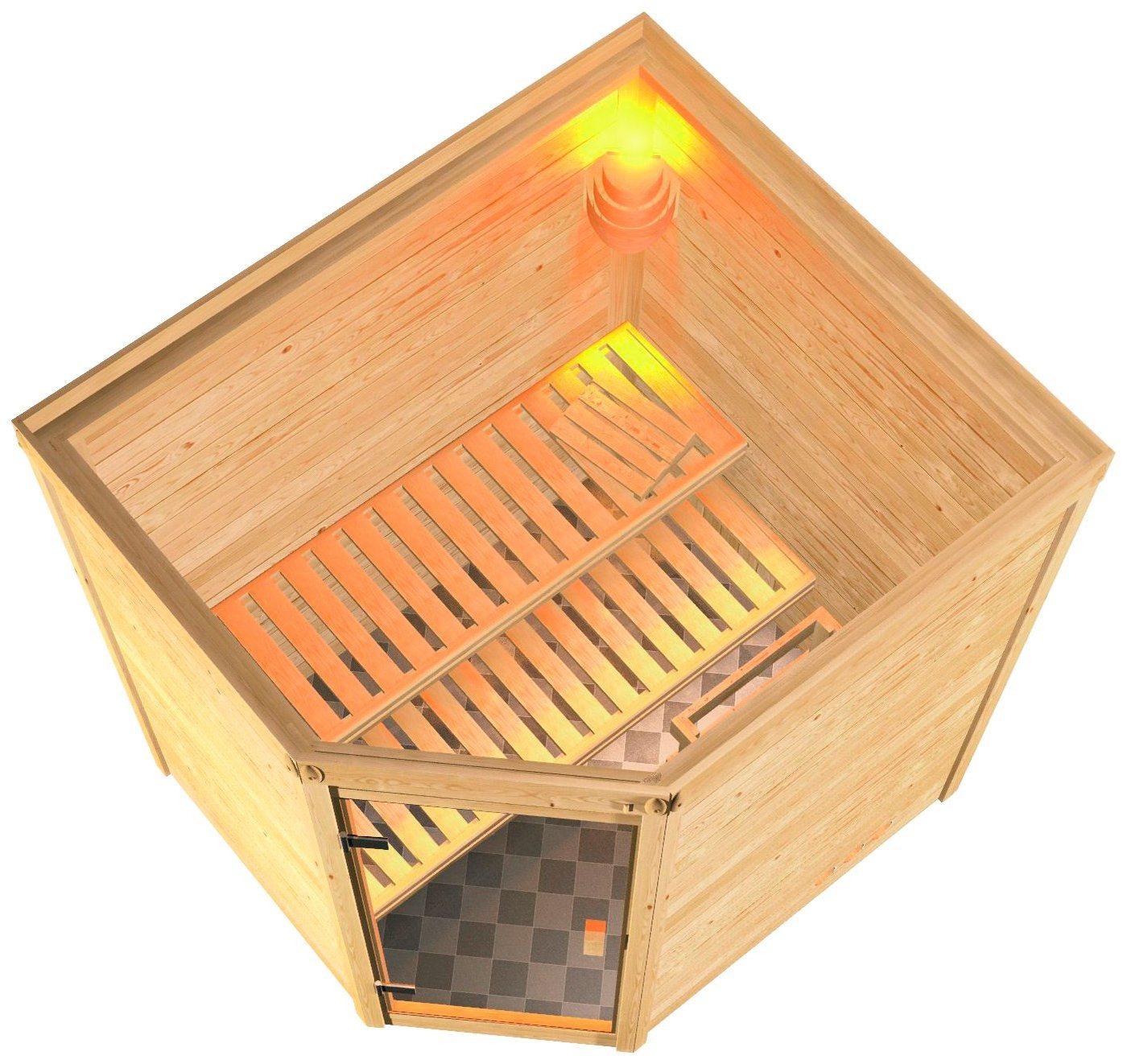 KARIBU Sauna »Mia«, 196/170/200 cm, 9-kW-Ofen mit int. Steuerung, Holztür