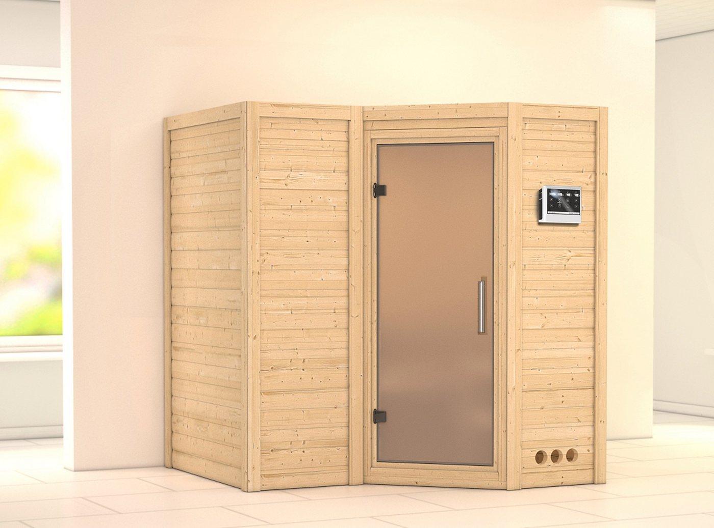 KARIBU Sauna »Sahib 1«, 193/184/206 cm, 9-kW-Bio-Ofen, ext. Strg., Glastür satiniert