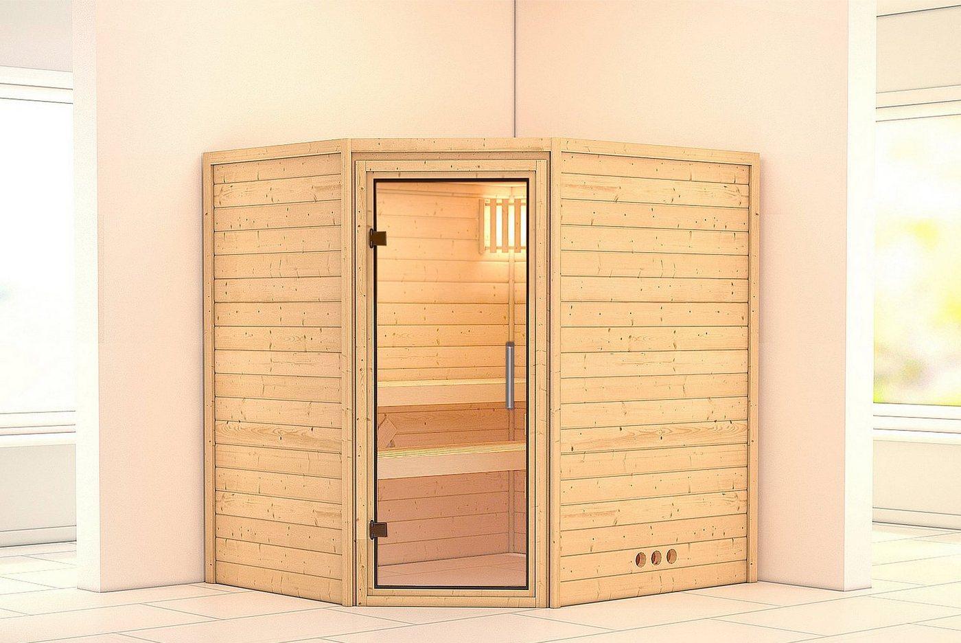 KONIFERA Sauna »Mia«, 196/170/200 cm, 9-kW-Ofen mit int. Steuerung, Glastür klar