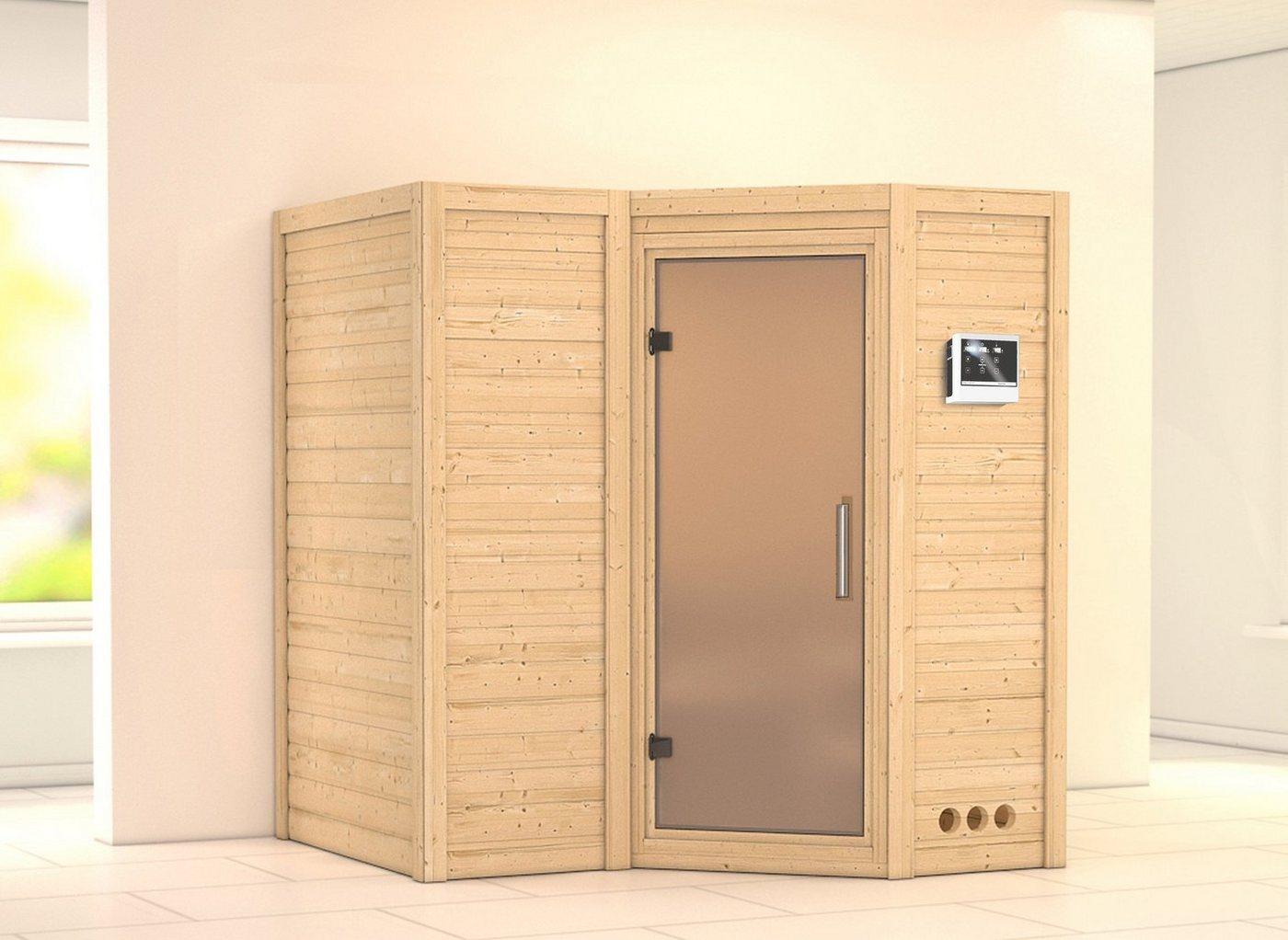 KARIBU Sauna »Sahib 1«, 193/184/206 cm, 9-kW-Ofen, ext. Steuerung, Glastür satiniert